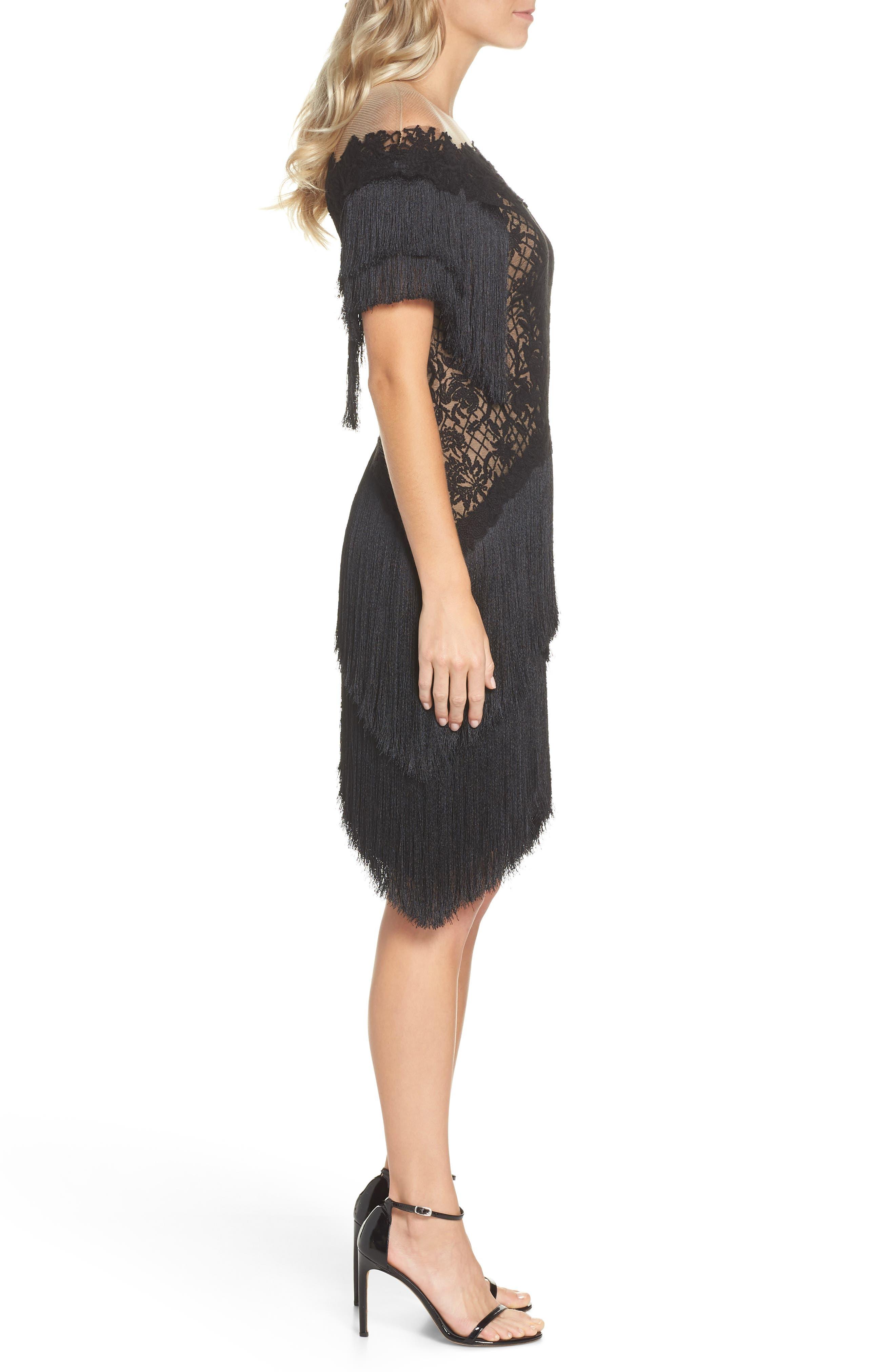Off the Shoulder Fringe & Embroidered Mesh Dress,                             Alternate thumbnail 3, color,                             BLACK/ NUDE