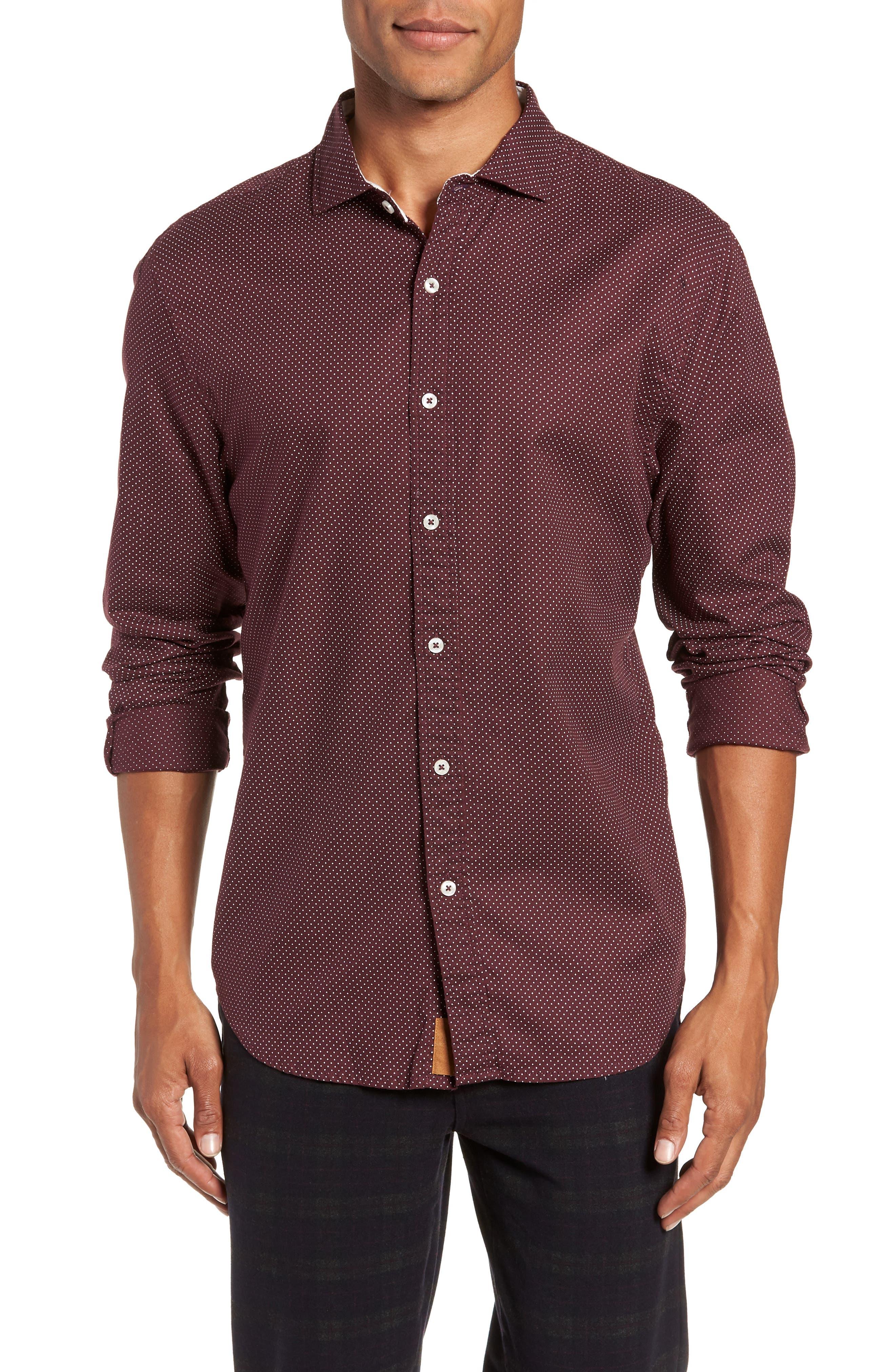 Earnest Regular Fit Dotted Sport Shirt,                         Main,                         color, BURGUNDY