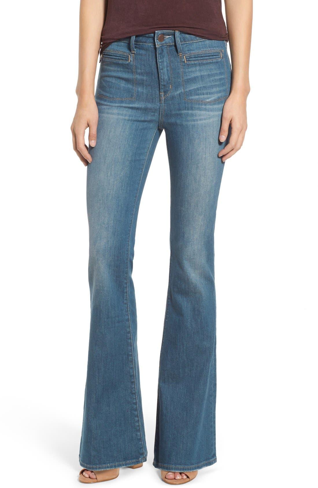 Treasure&Bond High Rise Skinny Flare Jeans,                             Main thumbnail 1, color,                             400
