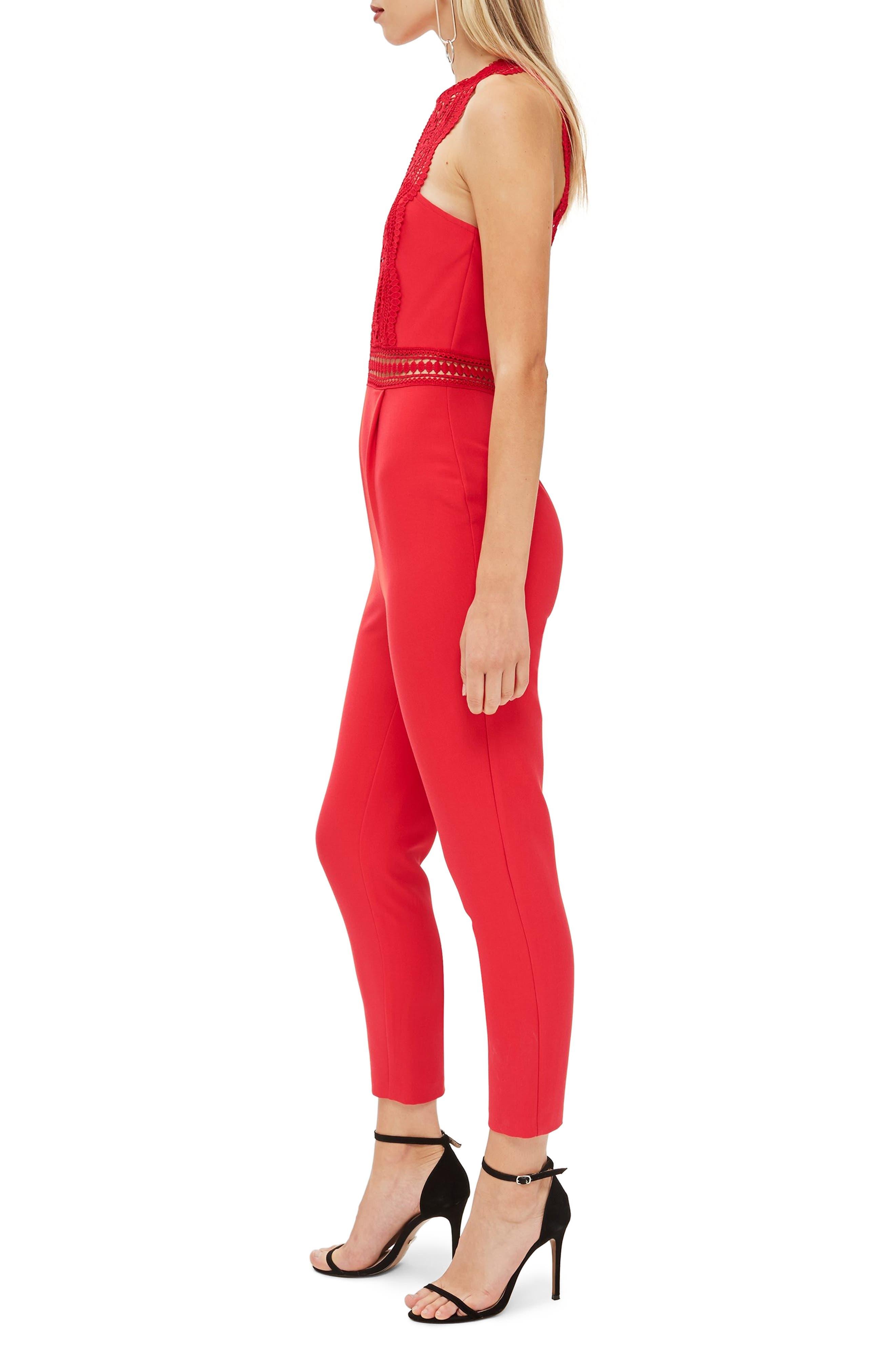 Saskia Lace Trim Jumpsuit,                             Alternate thumbnail 3, color,                             RED