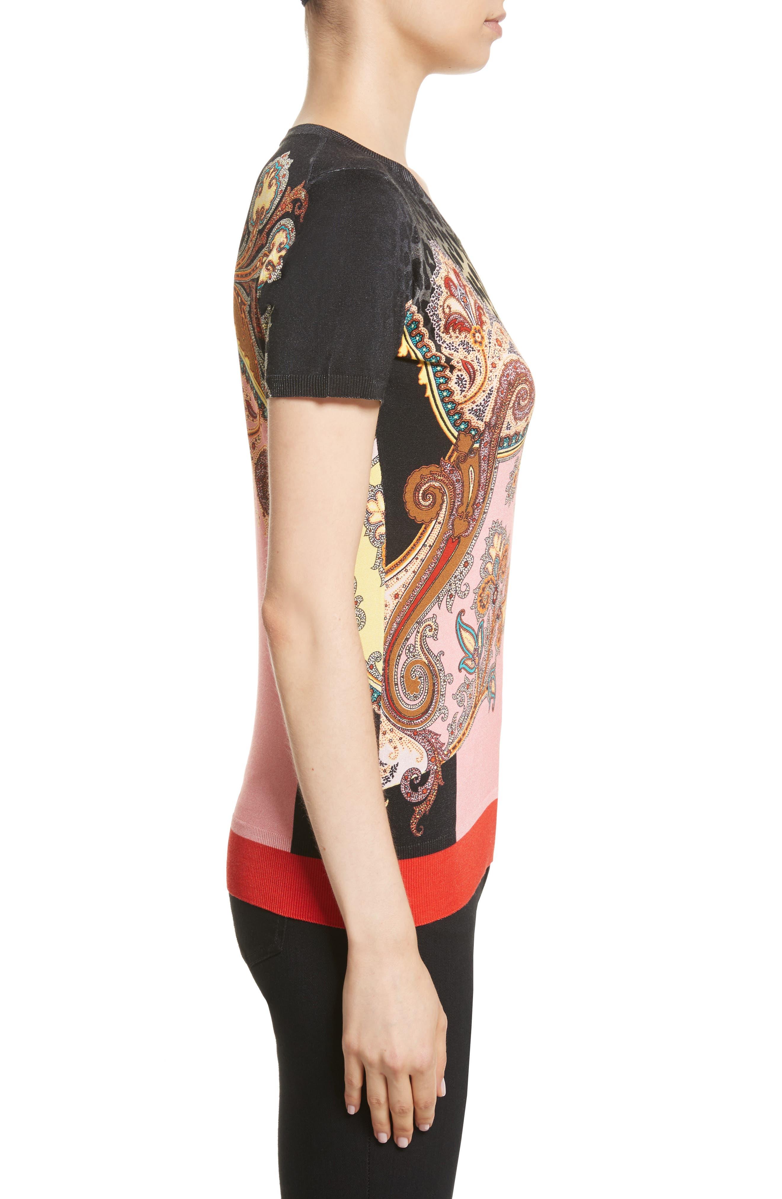 Leopard Paisley Print Stretch Silk Sweater,                             Alternate thumbnail 3, color,                             001