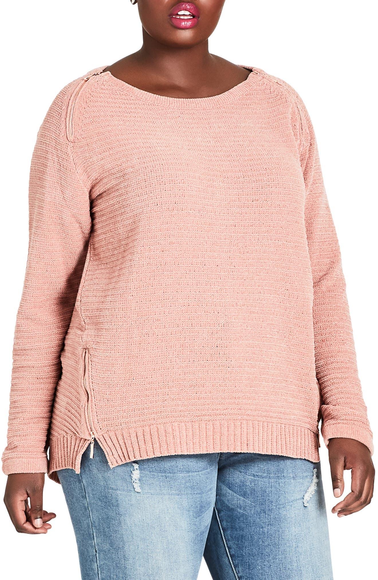 Zip Detail Sweater,                         Main,                         color, DAINTY ROSE