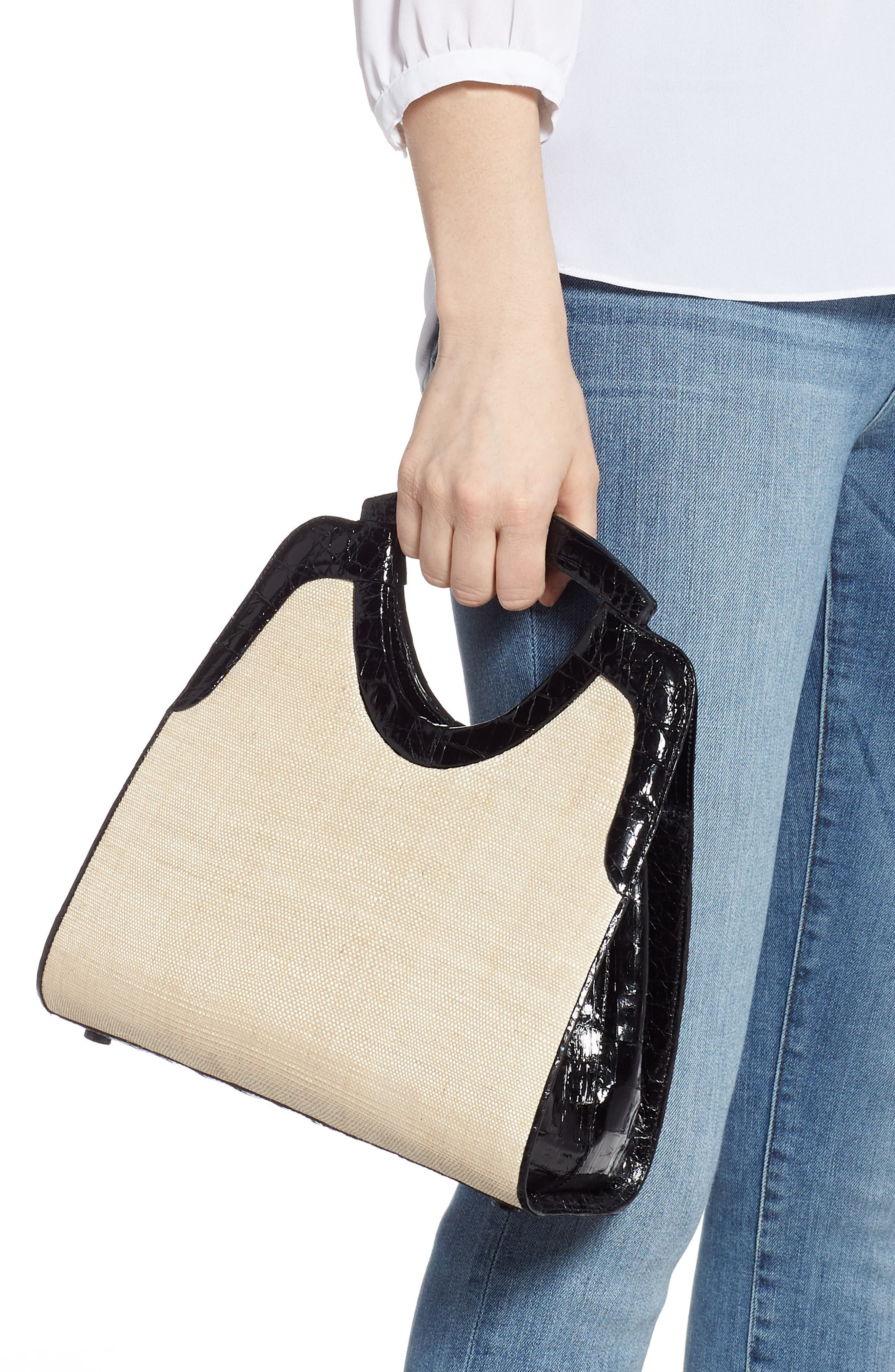 Small Genuine Crocodile Top Handle Bag,                             Alternate thumbnail 2, color,                             BLACK/ STRAW