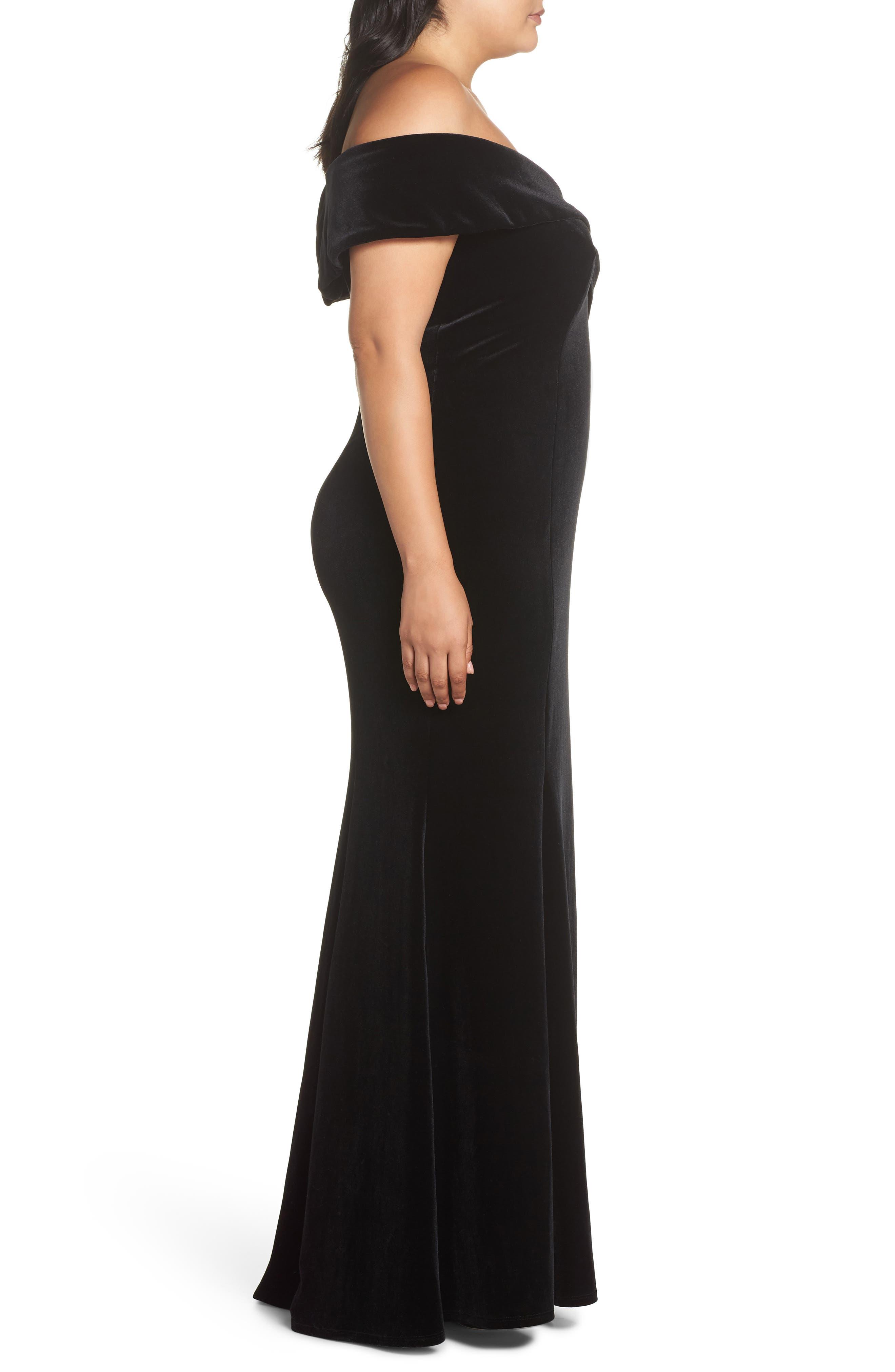 Off the Shoulder Velvet Gown,                             Alternate thumbnail 3, color,                             BLACK
