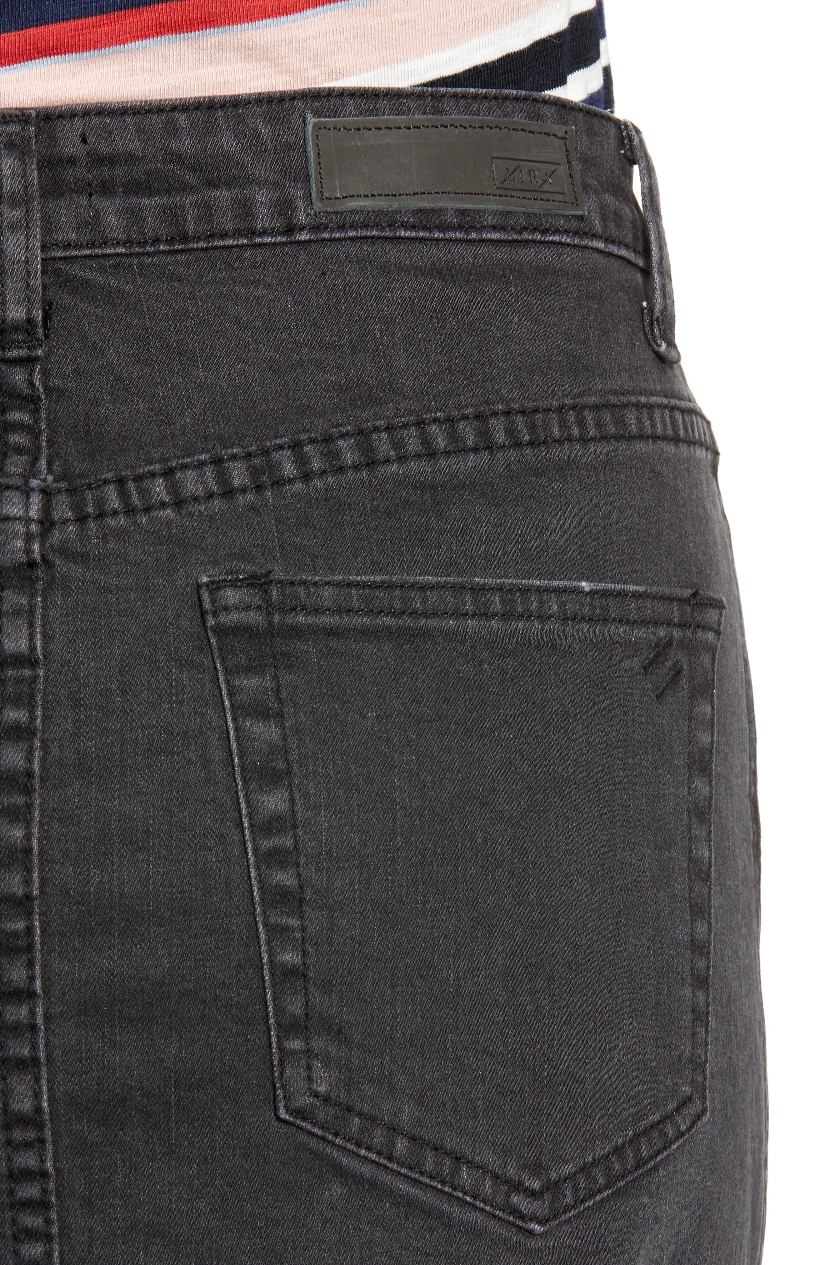Cobra Ripped Denim Skirt,                             Alternate thumbnail 4, color,                             BLACK