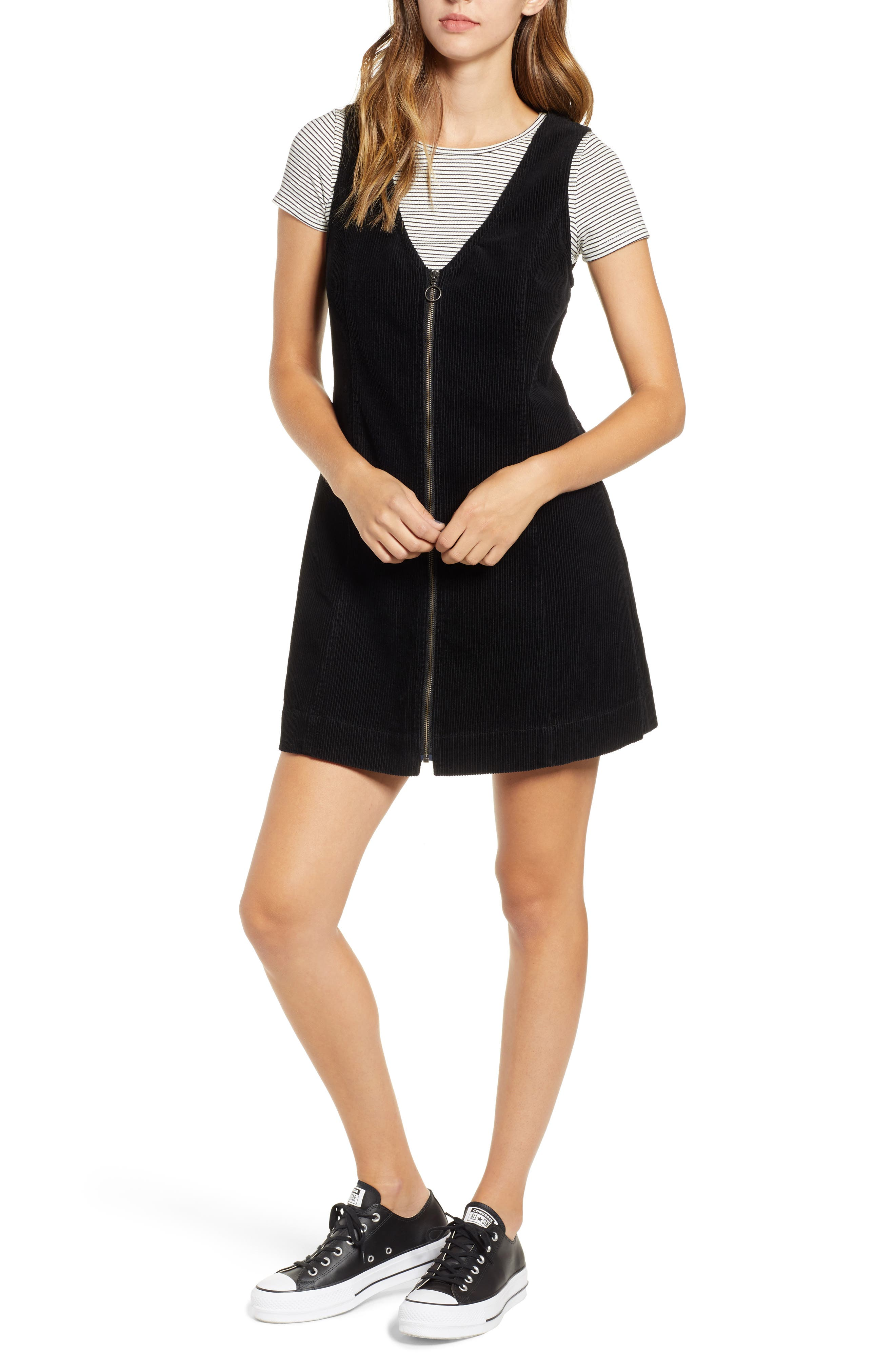 Corduory Pinafore Dress,                         Main,                         color, BLACK