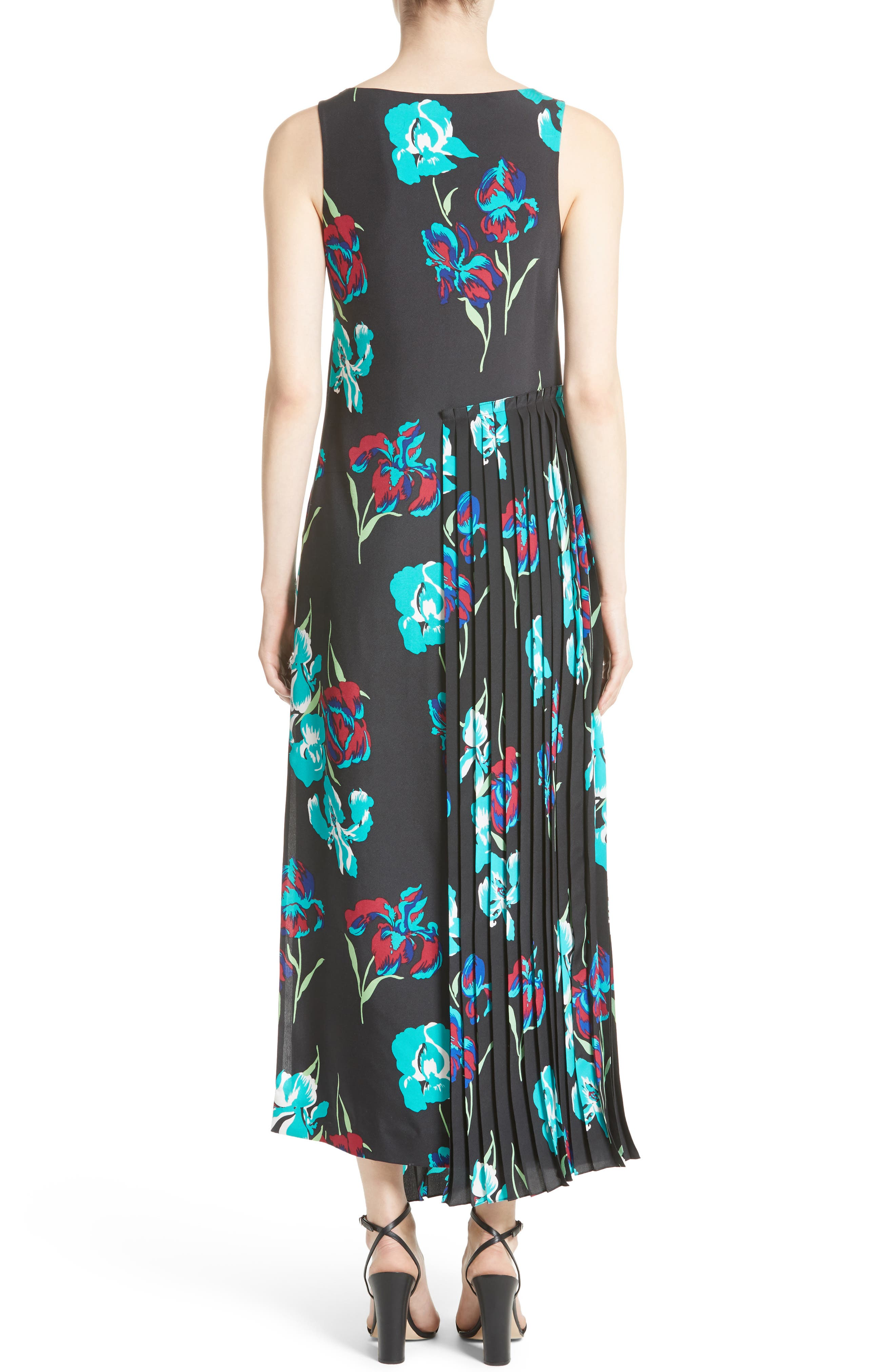 Print Silk Pleated Overlay Dress,                             Alternate thumbnail 2, color,                             009