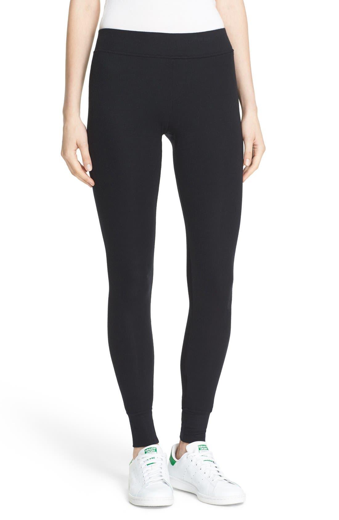 Rib Knit Yoga Leggings,                         Main,                         color, BLACK