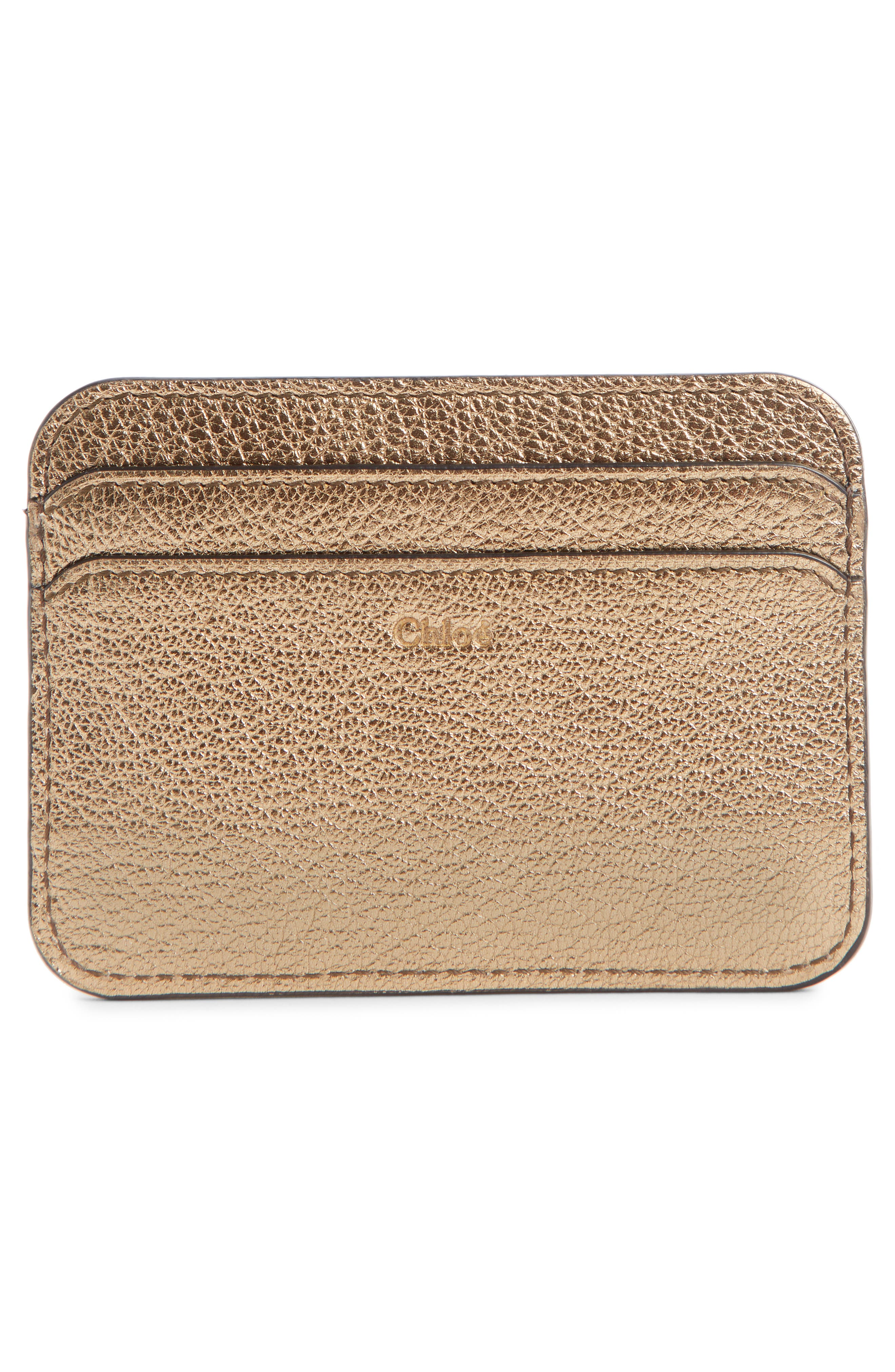 Metallic Leather Card Case,                             Alternate thumbnail 2, color,                             GOLD