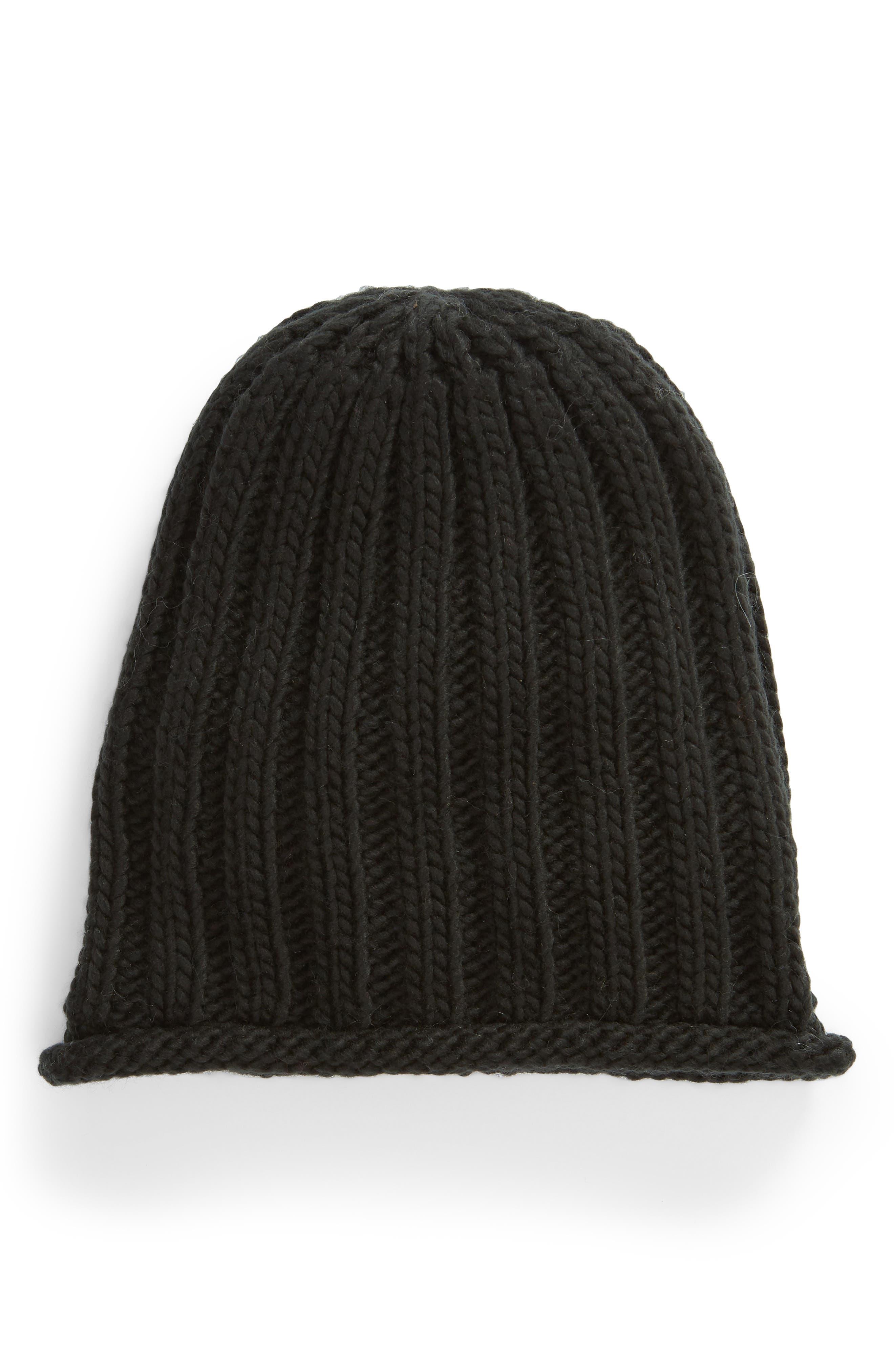 Rory Rib Beanie,                         Main,                         color, BLACK