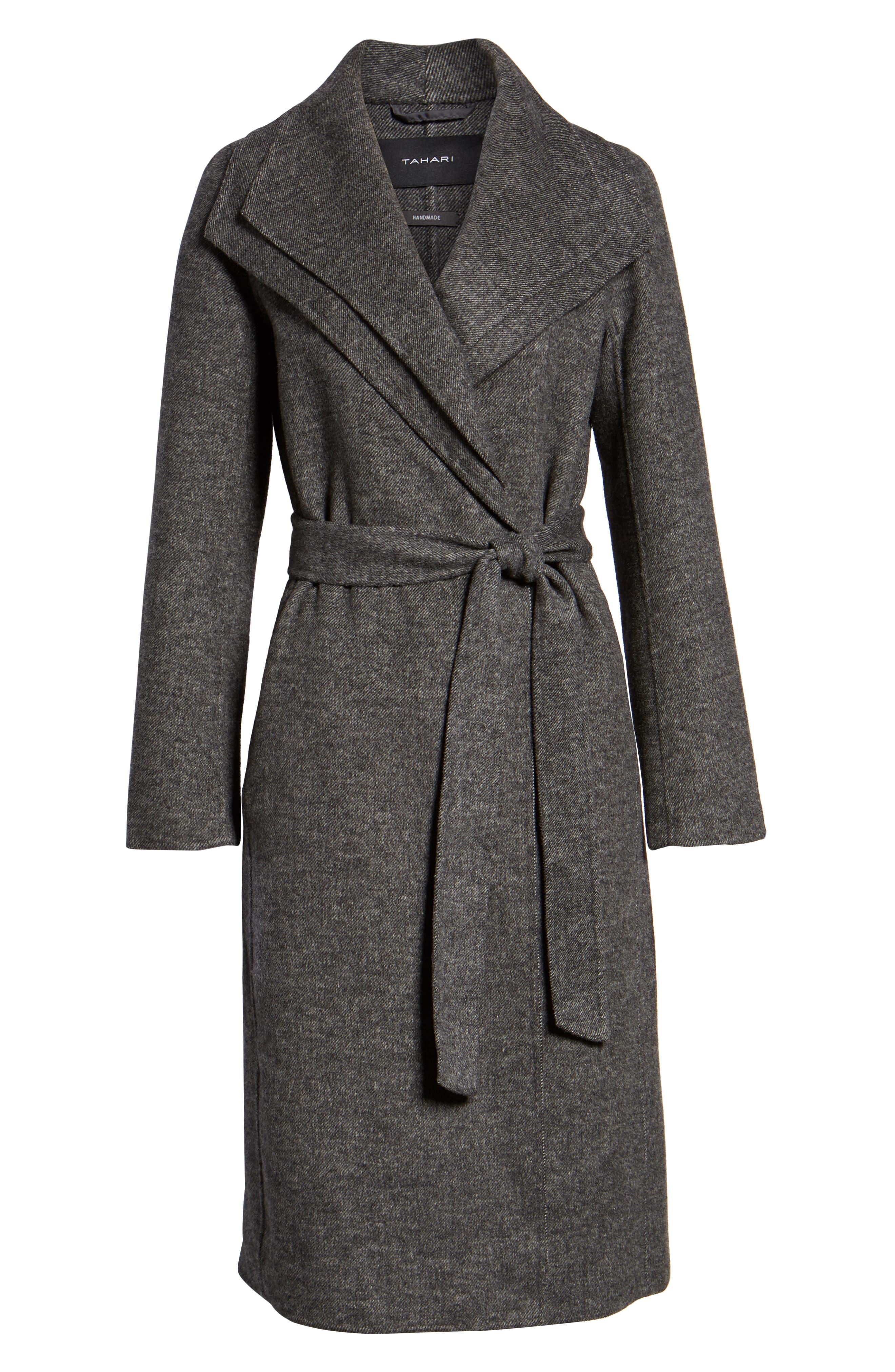 Elliot Wool Blend Wrap Coat,                             Alternate thumbnail 6, color,                             022