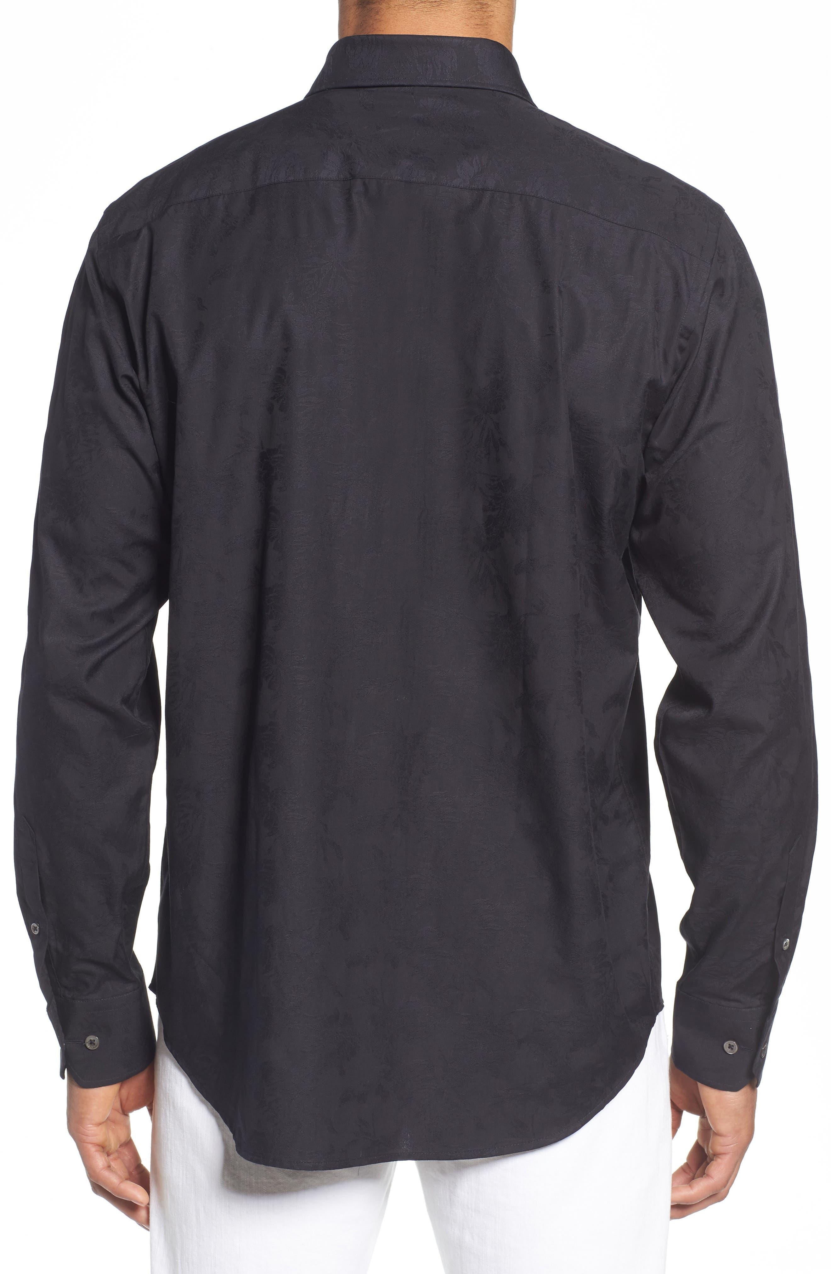 Classic Fit Tonal Jacquard Sport Shirt,                             Alternate thumbnail 2, color,                             BLACK