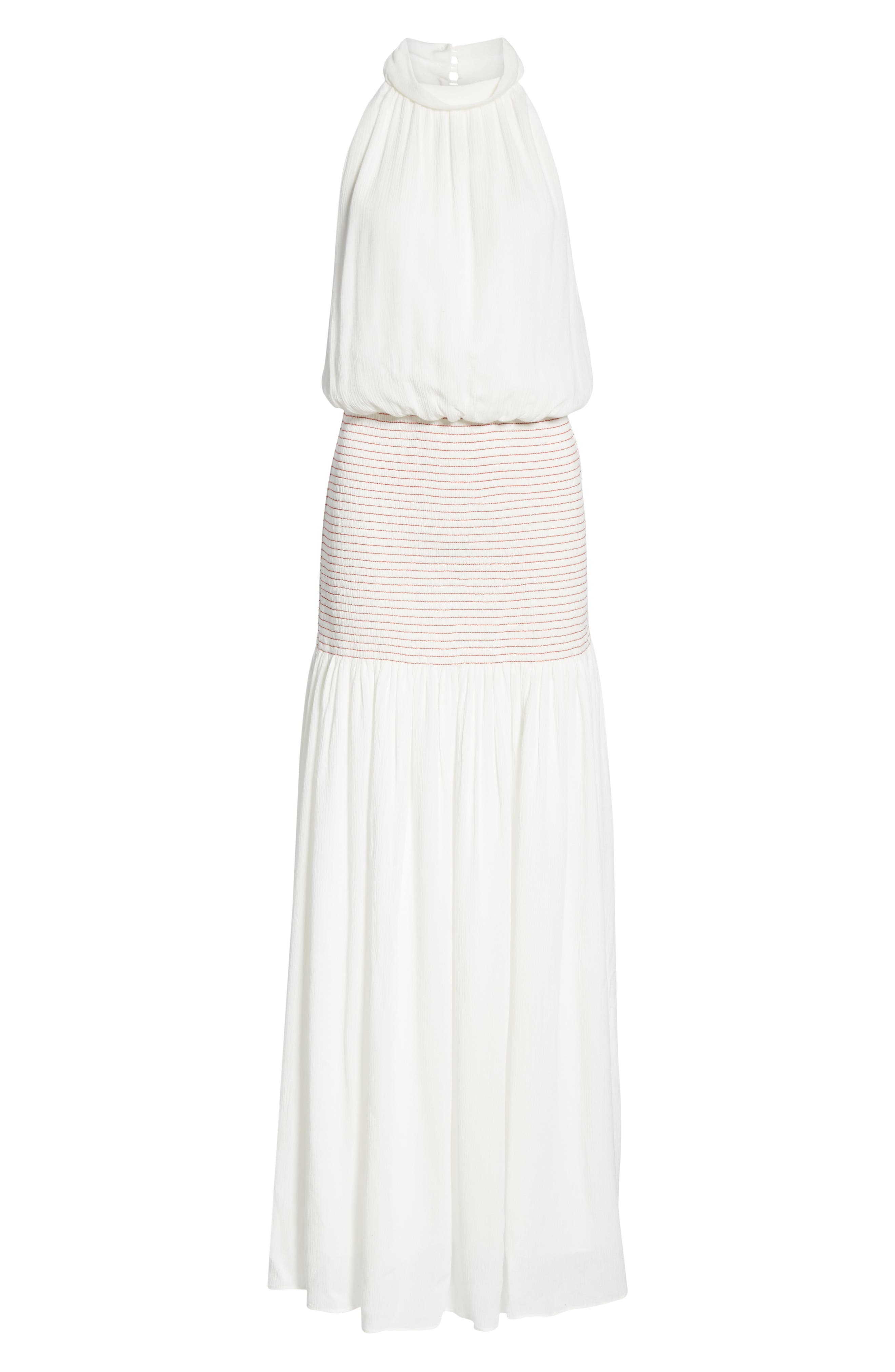 Festa Smocked Panel Maxi Dress,                             Alternate thumbnail 6, color,                             WHITE