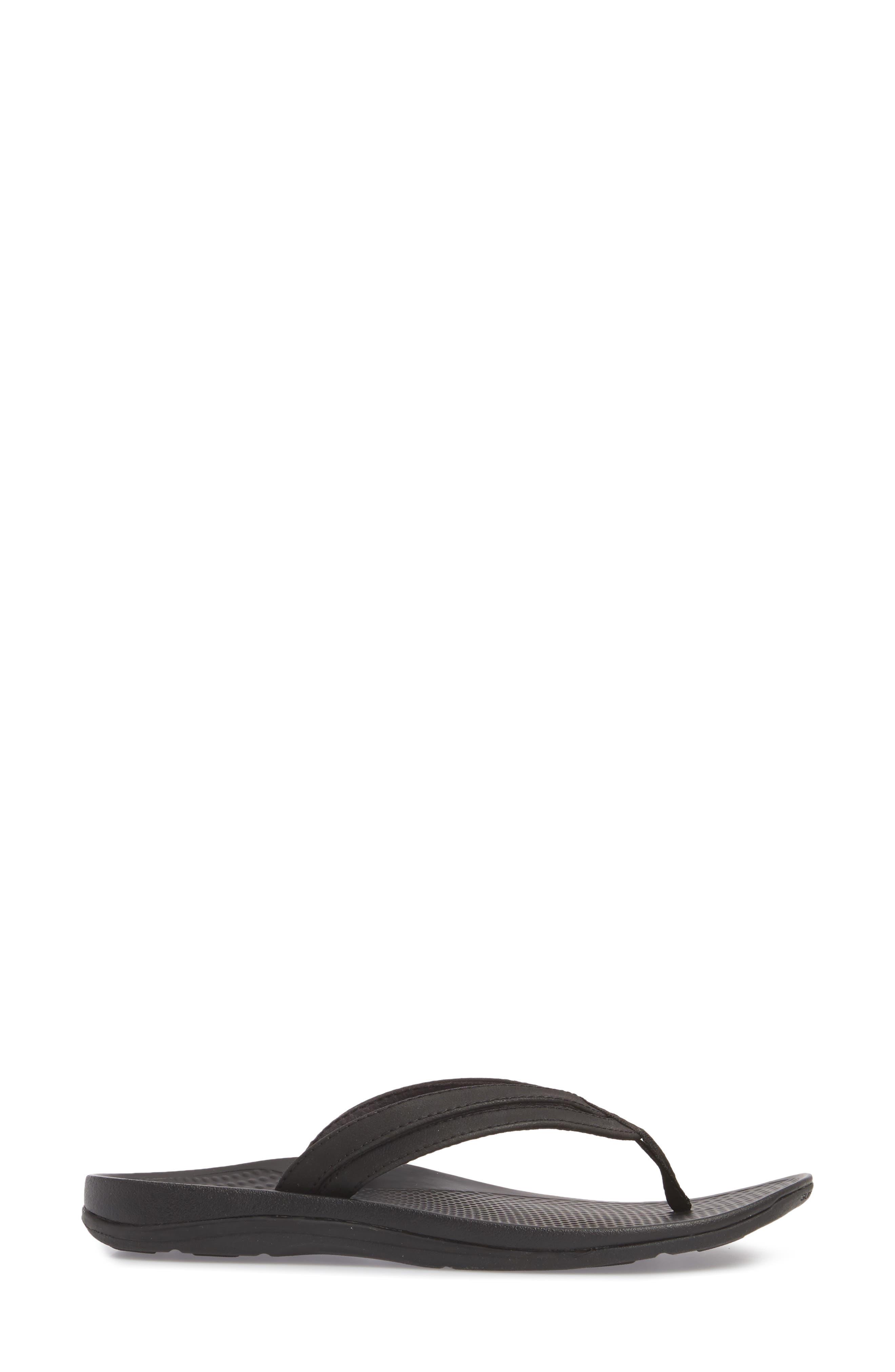 Rose Flip Flop,                             Alternate thumbnail 3, color,                             BLACK FAUX LEATHER