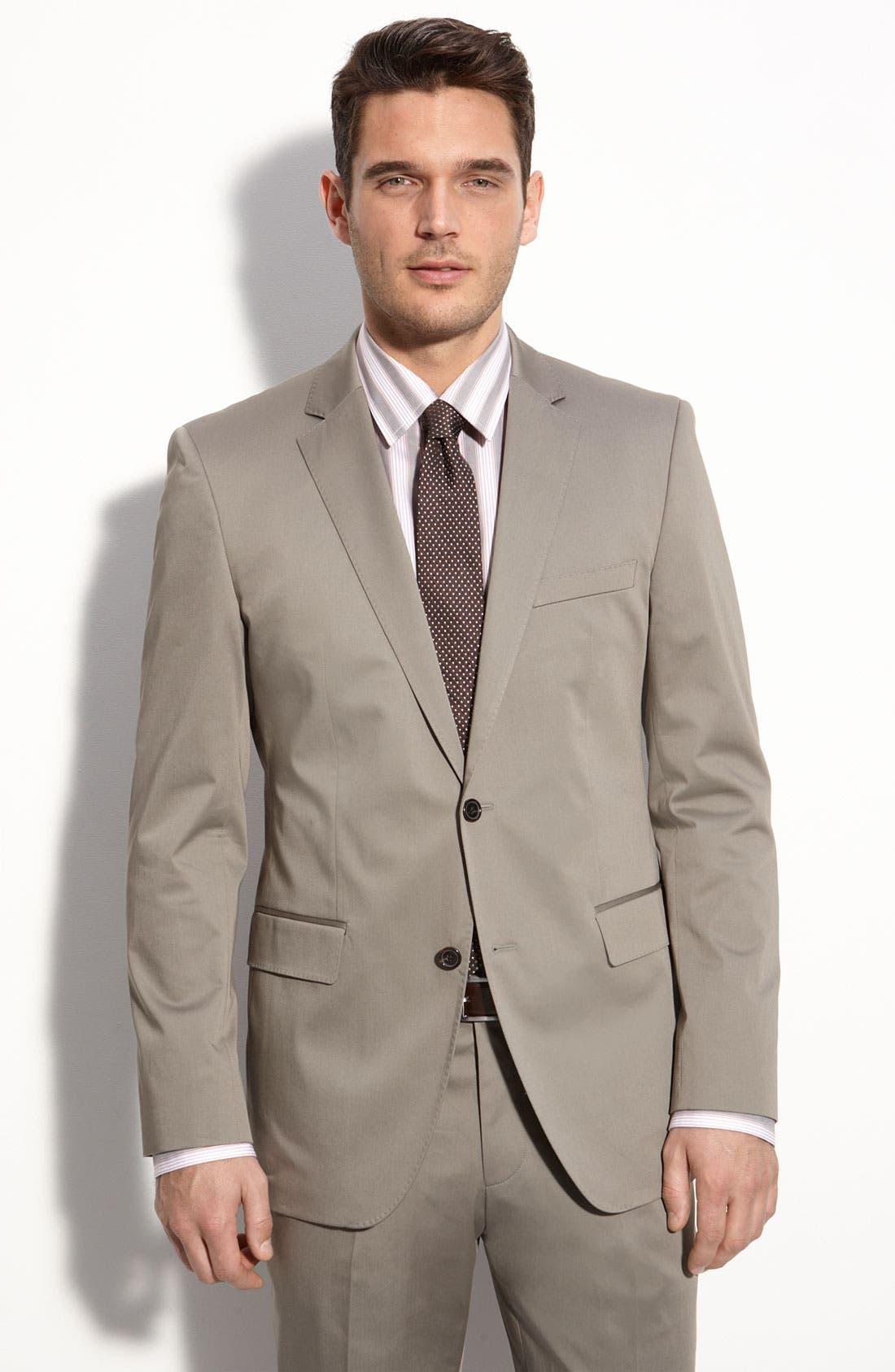 BOSS Black 'The James/Sharp 2' Grey Stretch Cotton Suit,                         Main,                         color, 031