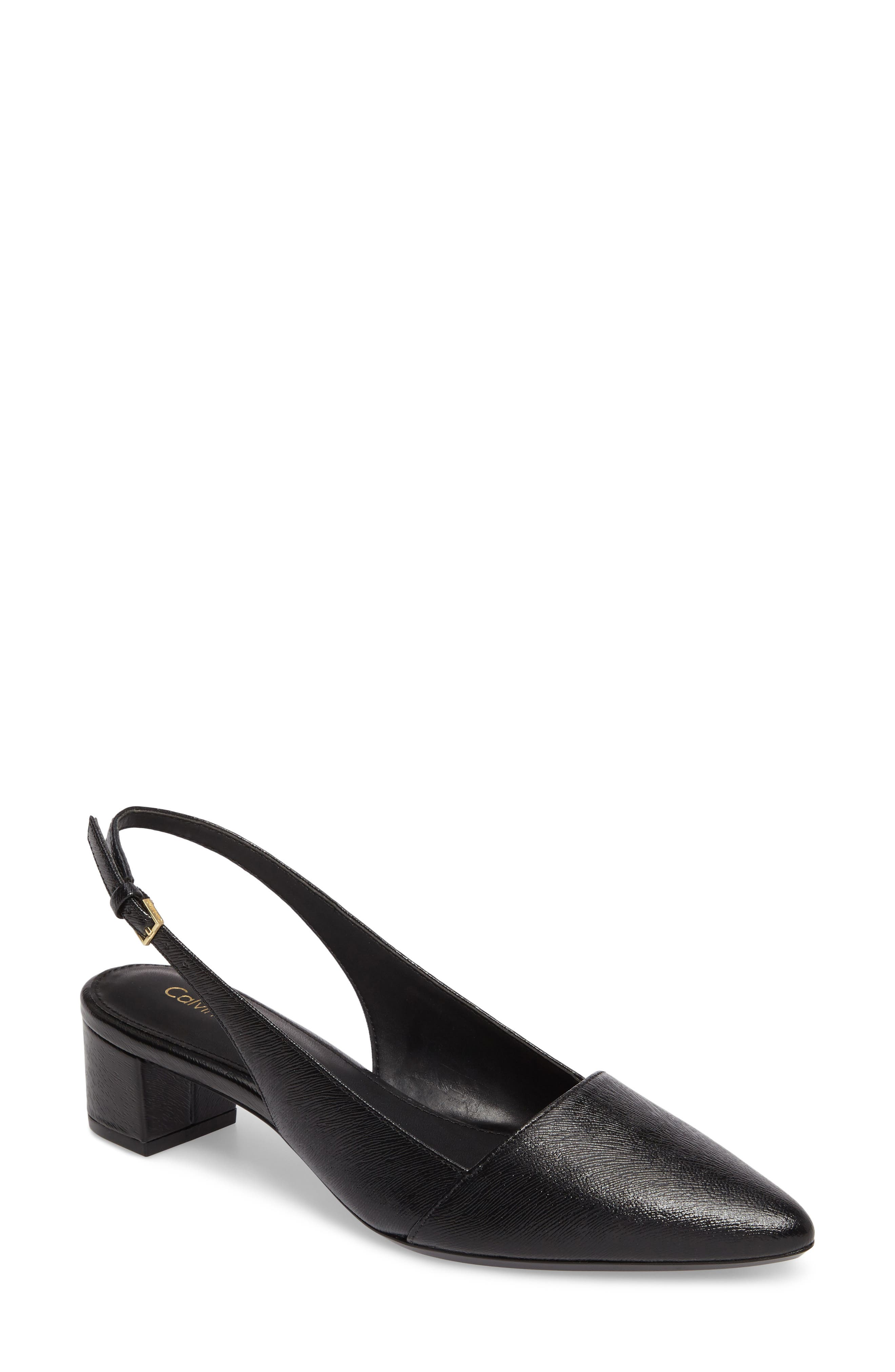 Galinda Slingback Pump,                             Main thumbnail 1, color,                             BLACK LEATHER