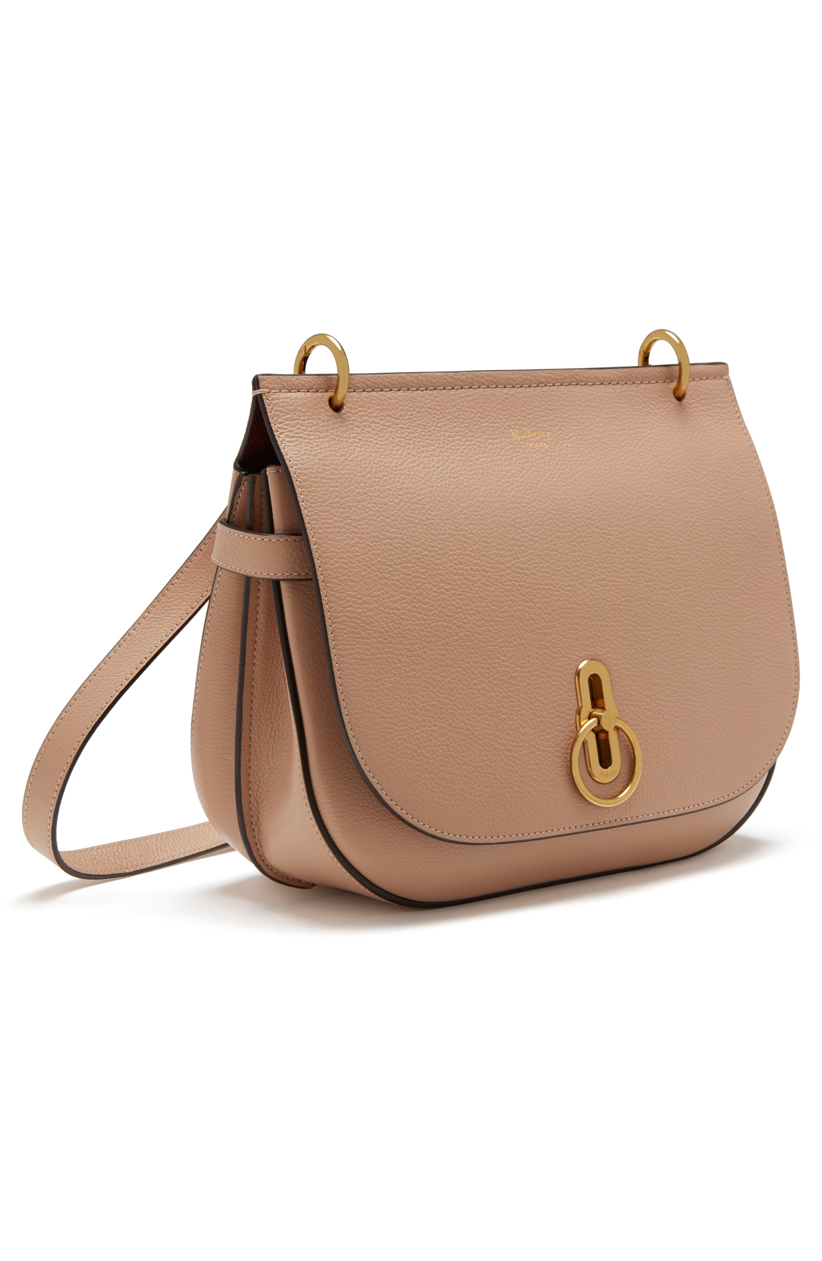 Amberley Leather Crossbody Bag,                             Alternate thumbnail 4, color,                             ROSEWATER