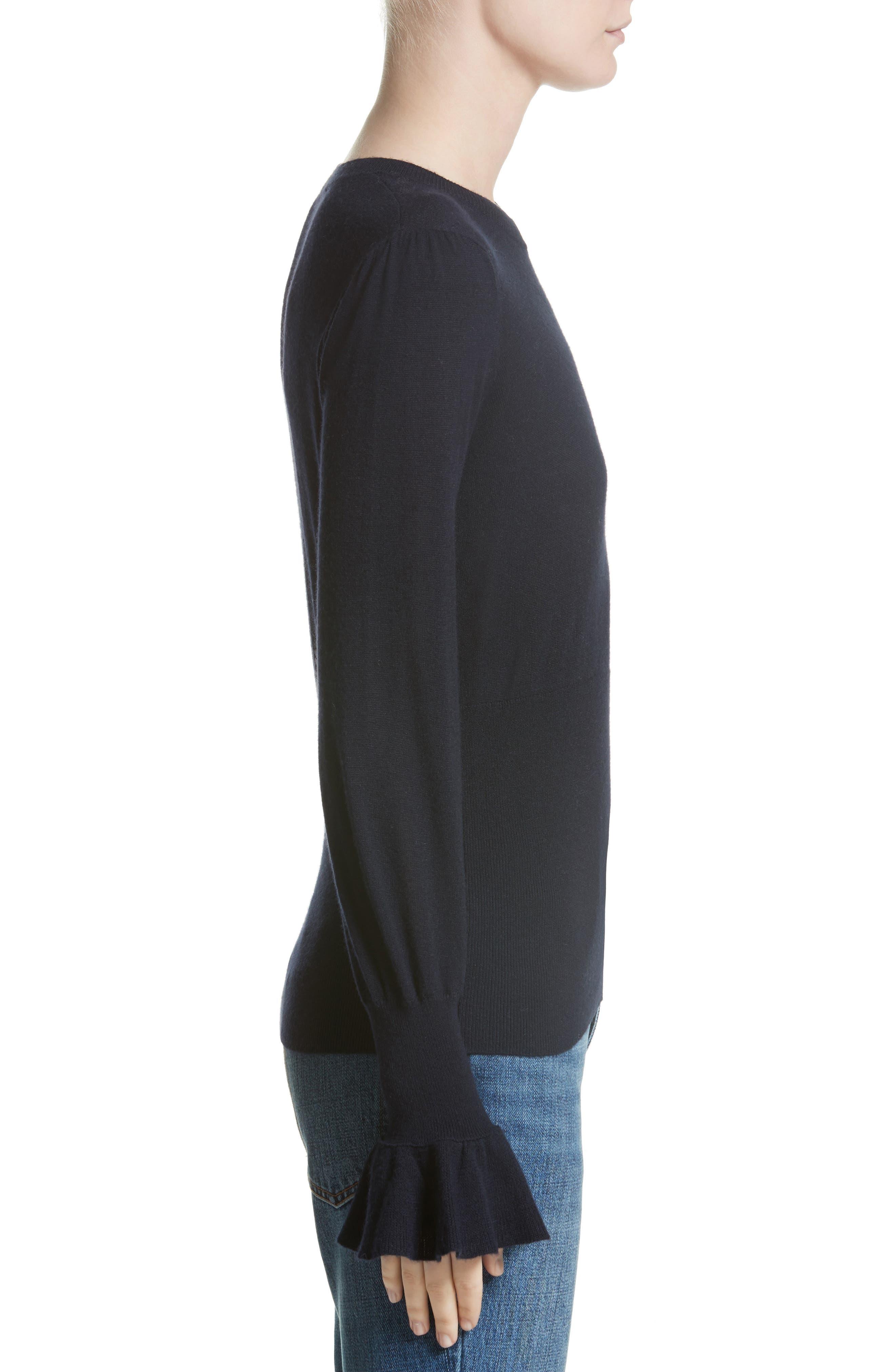 Ruffle Sleeve Silk & Cashmere Sweater,                             Alternate thumbnail 3, color,                             410