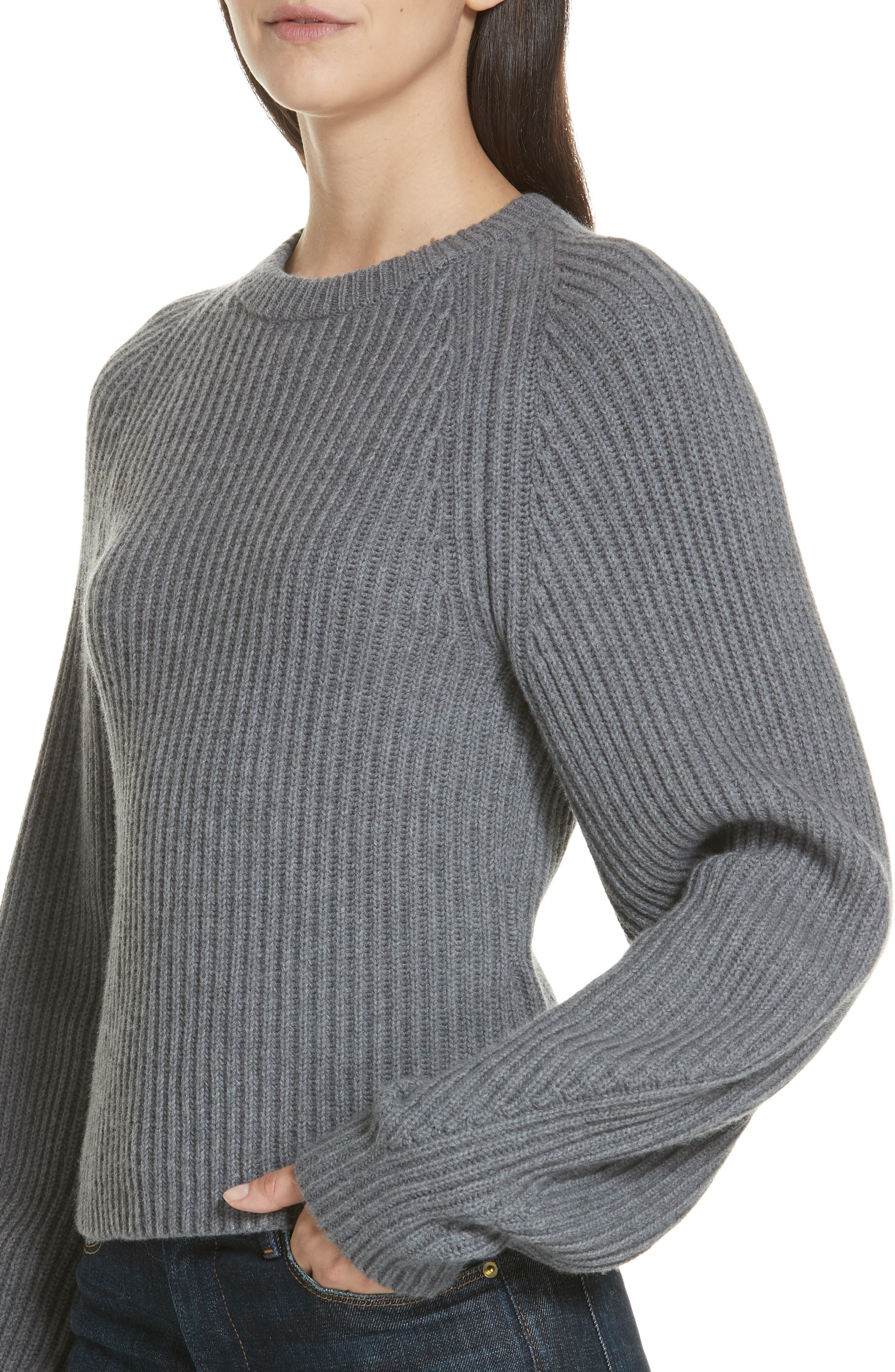 Sculpted Sleeve Shaker Stitch Merino Wool Sweater,                             Alternate thumbnail 4, color,                             CHARCOAL