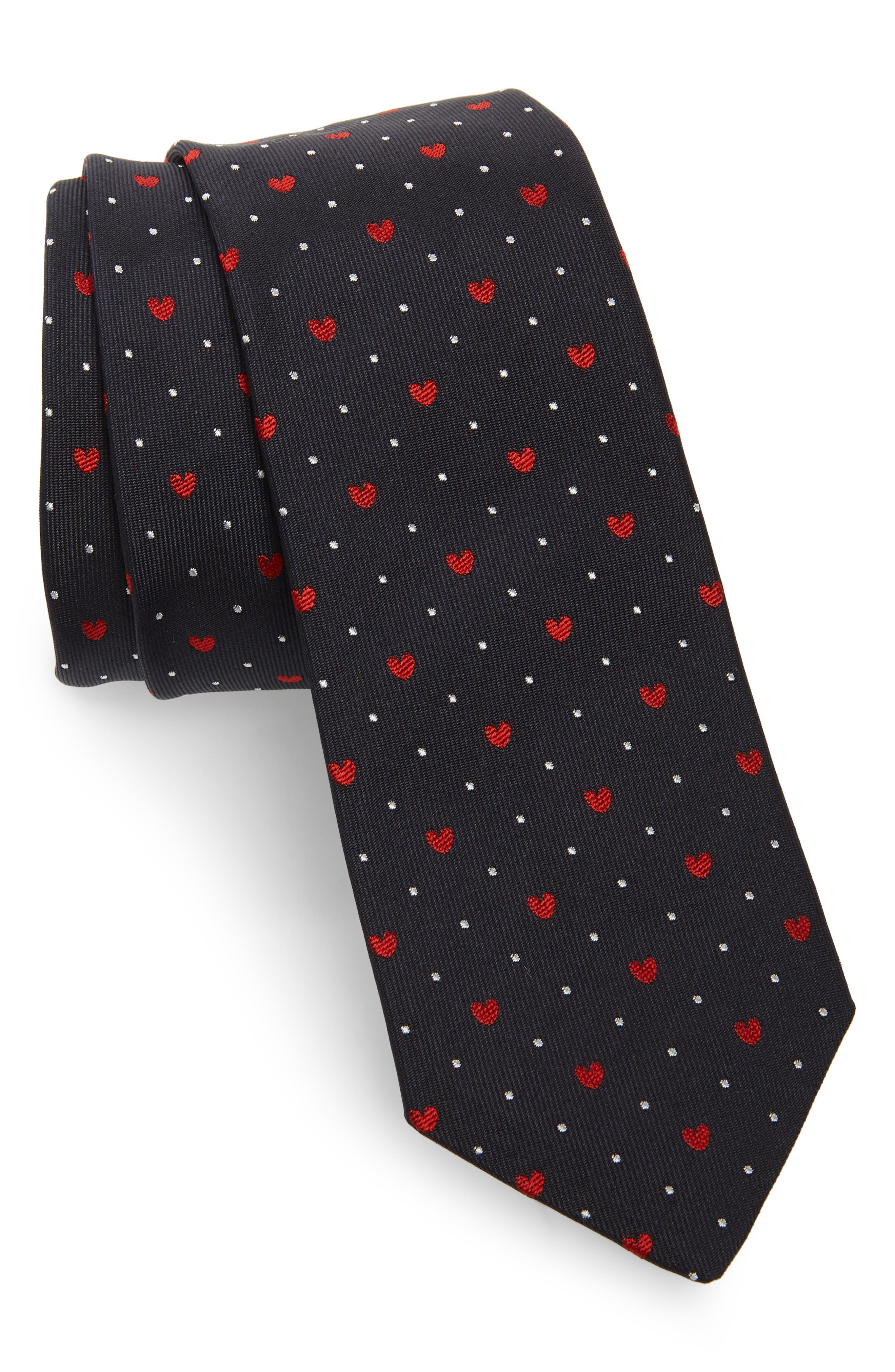 PAUL SMITH Heart Silk Tie, Main, color, NAVY