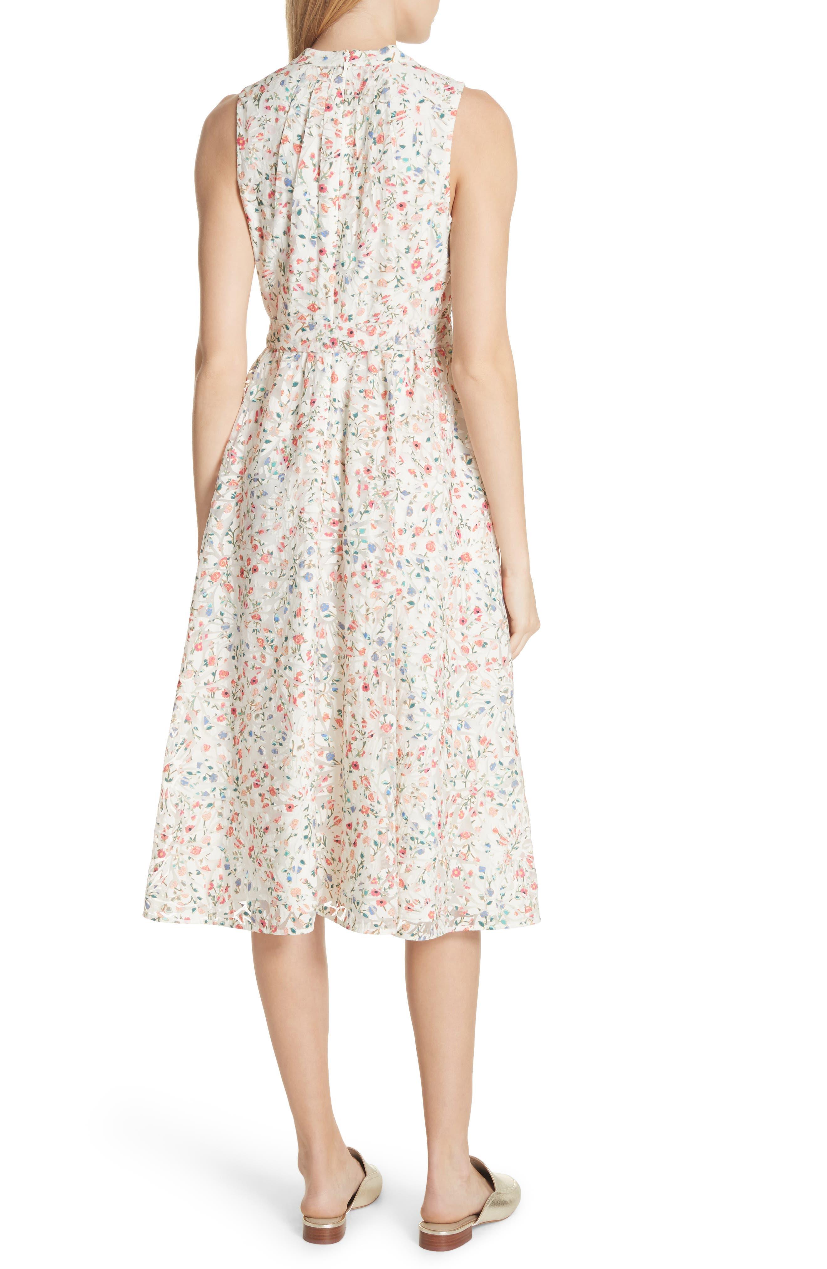 mini bloom burnout midi dress,                             Alternate thumbnail 2, color,