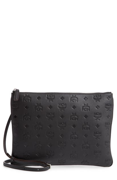 Mcm KLARA MONOGRAM CALFSKIN LEATHER CROSSBODY POUCH - GREY
