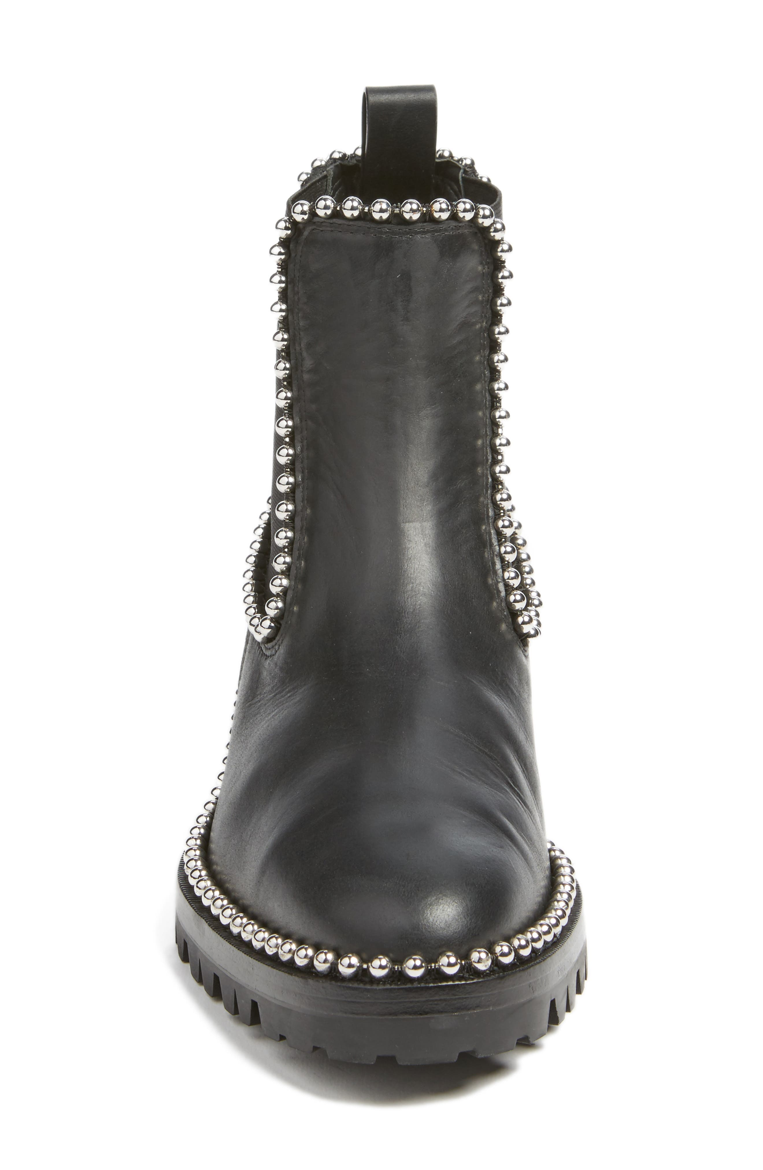 Spencer Chelsea Boot,                             Alternate thumbnail 4, color,                             BLACK LEATHER