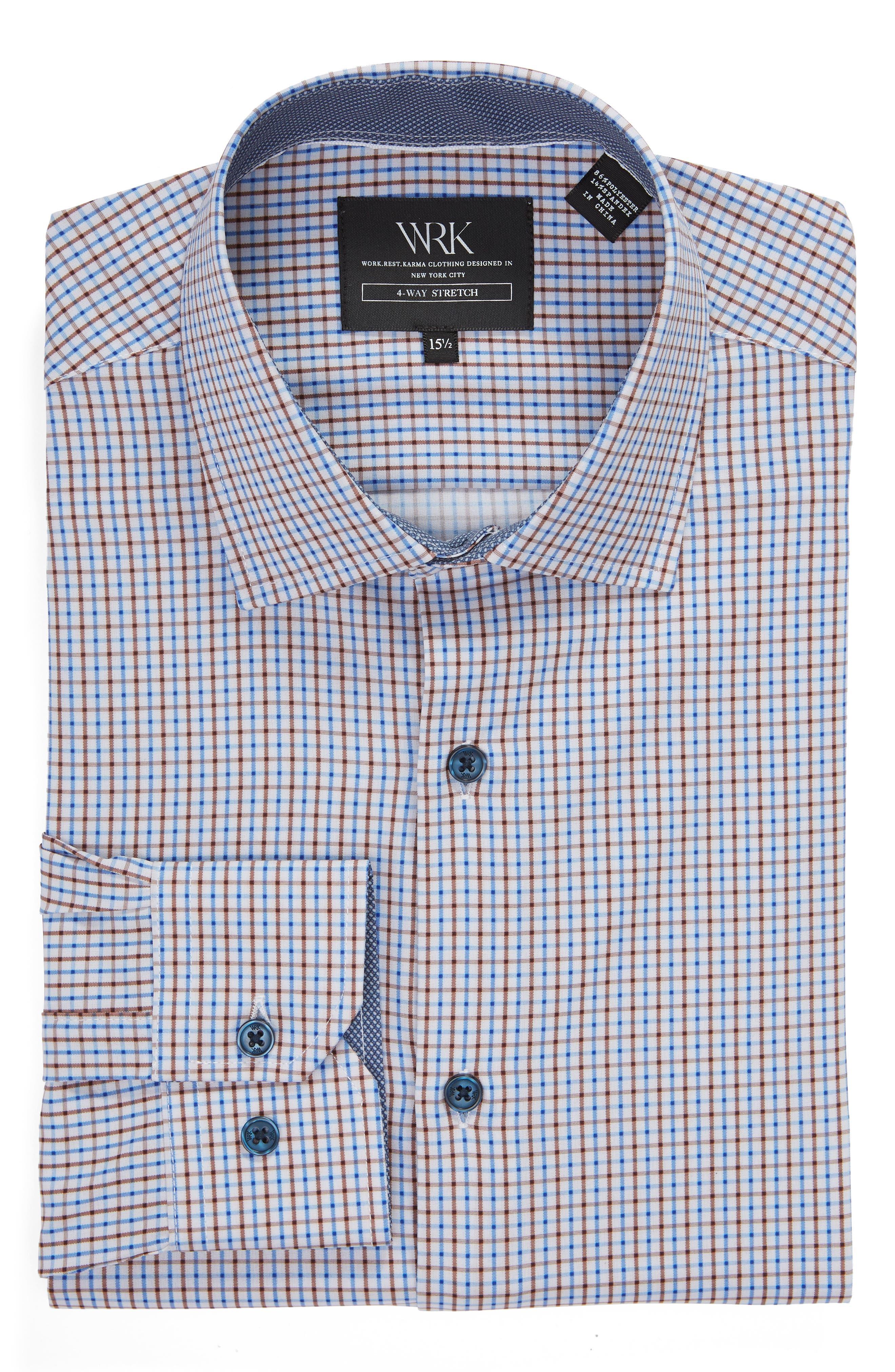 Trim Fit 4-Way Stretch Check Dress Shirt,                             Alternate thumbnail 5, color,                             BLUE