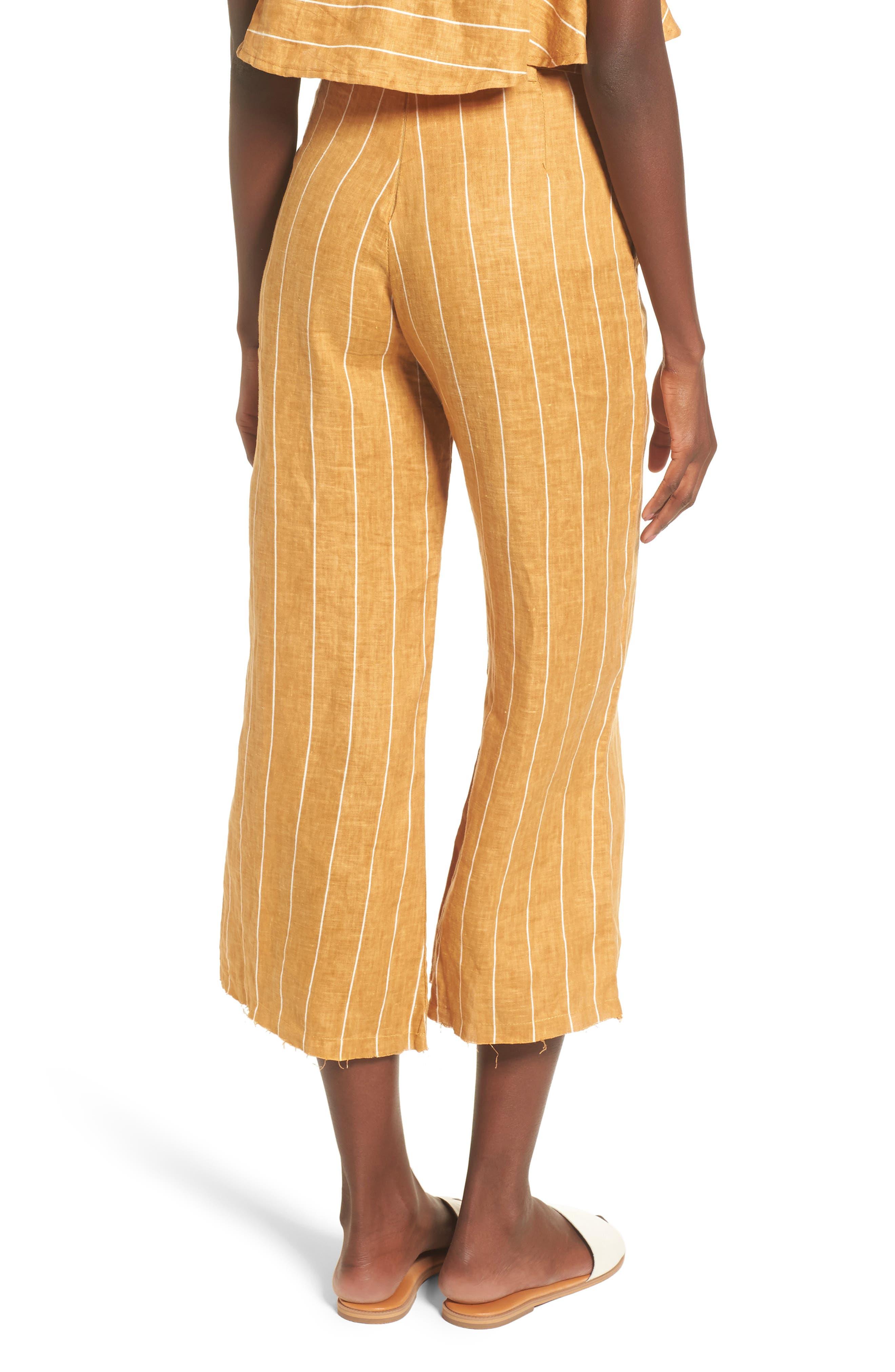 Como Wide Leg Crop Linen Pants,                             Alternate thumbnail 2, color,                             COPENHAGEN STRIPE