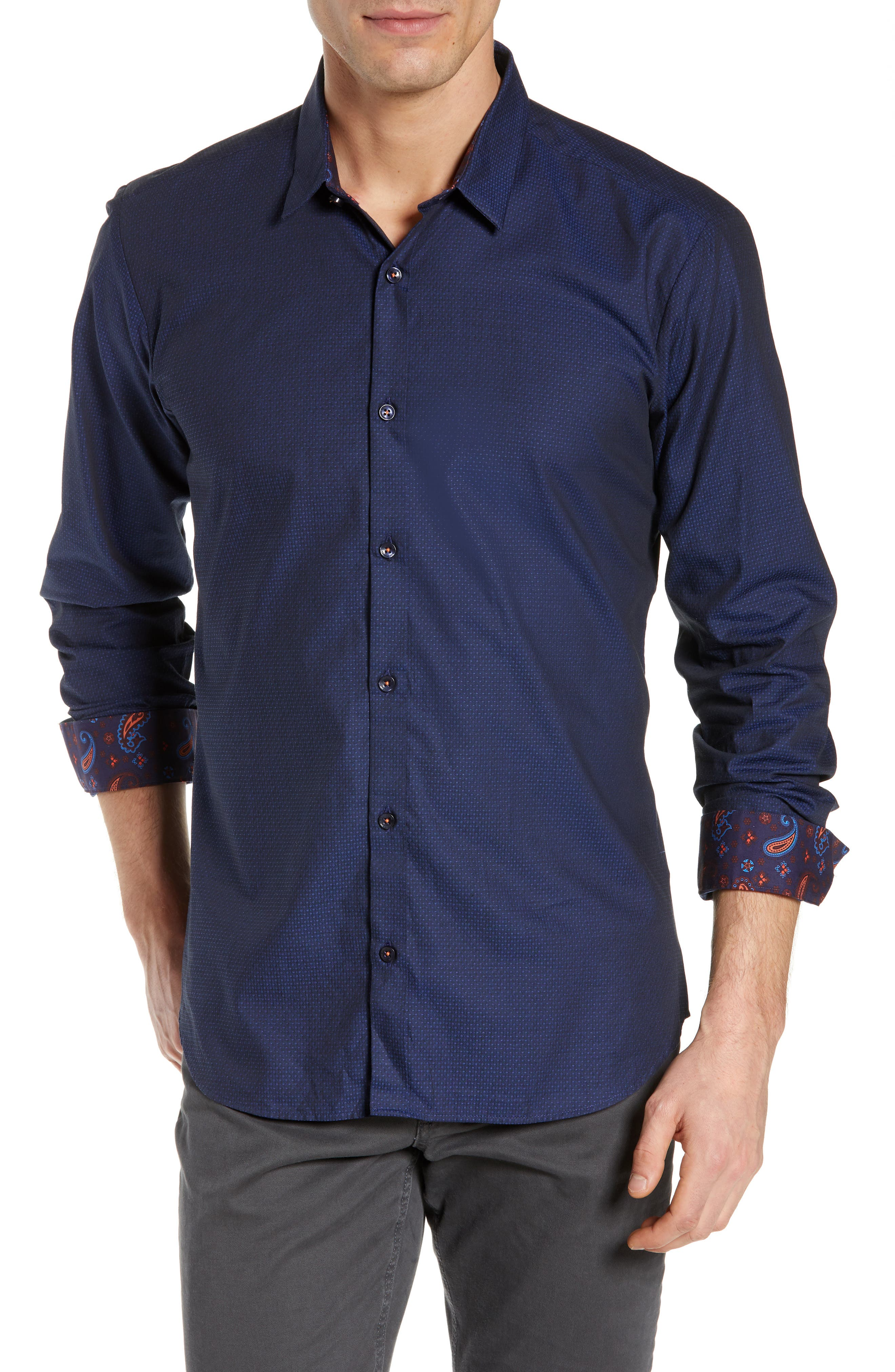 JARED LANG Trim Fit Dot Sport Shirt in Navy