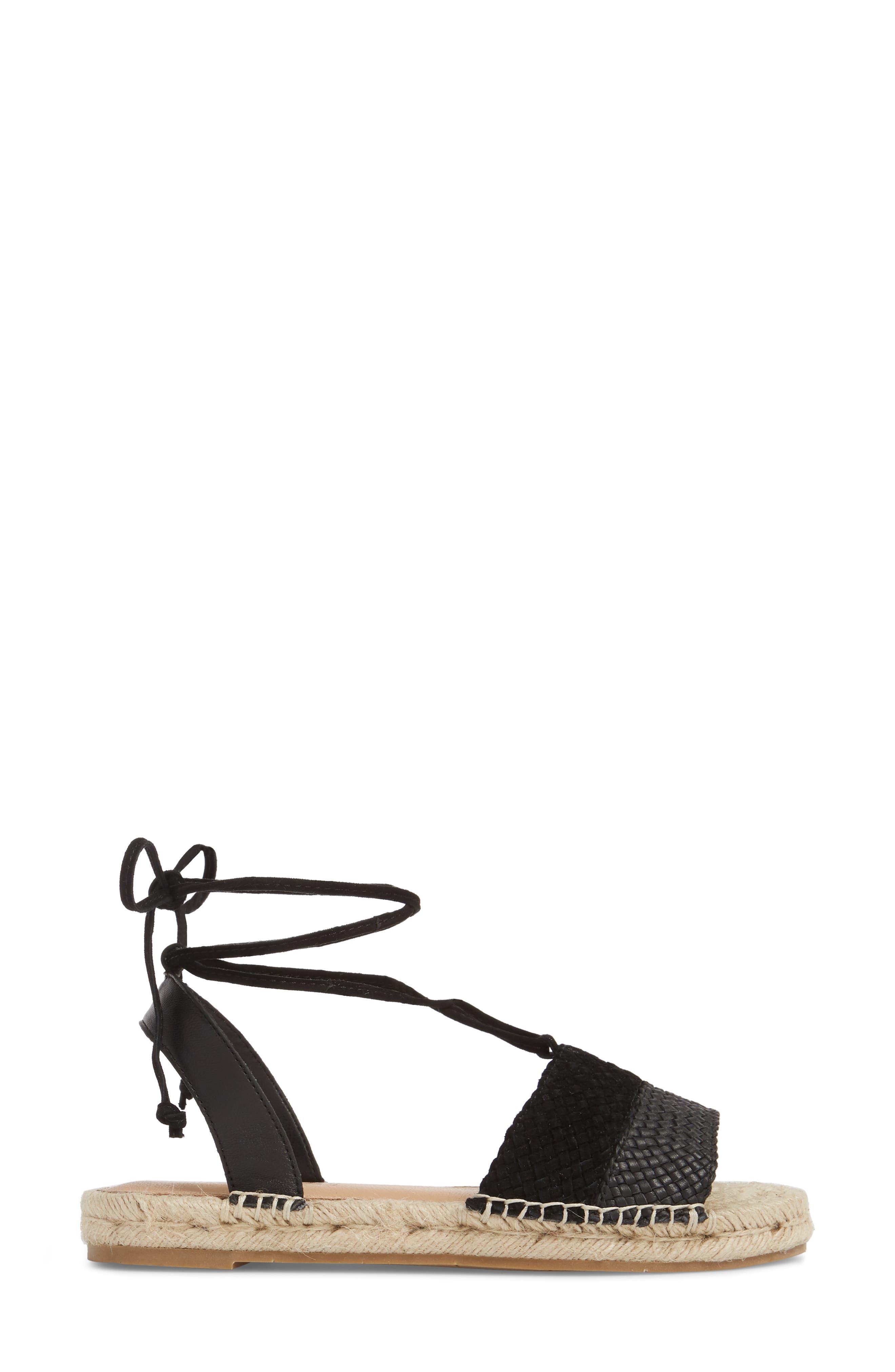 Eliza Ankle Wrap Espadrille Sandal,                             Alternate thumbnail 3, color,                             BLACK FABRIC