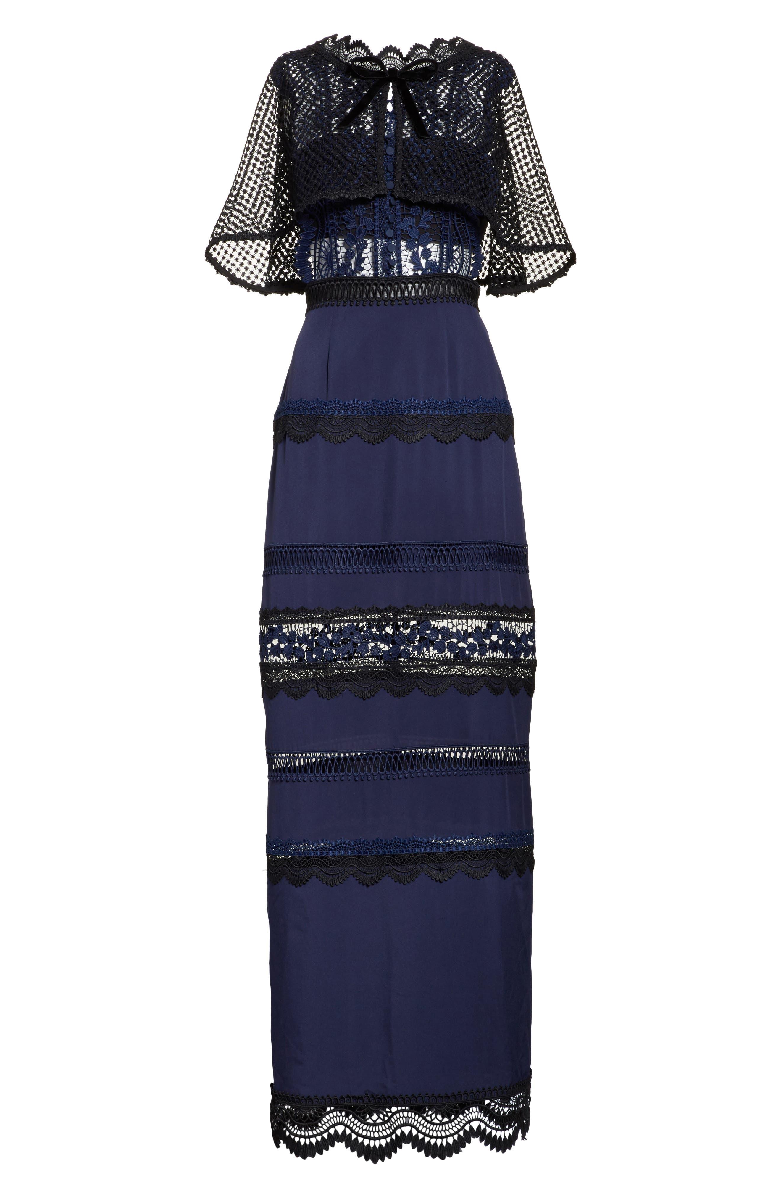 Bellis Lace Cape Maxi Dress,                             Alternate thumbnail 6, color,                             400