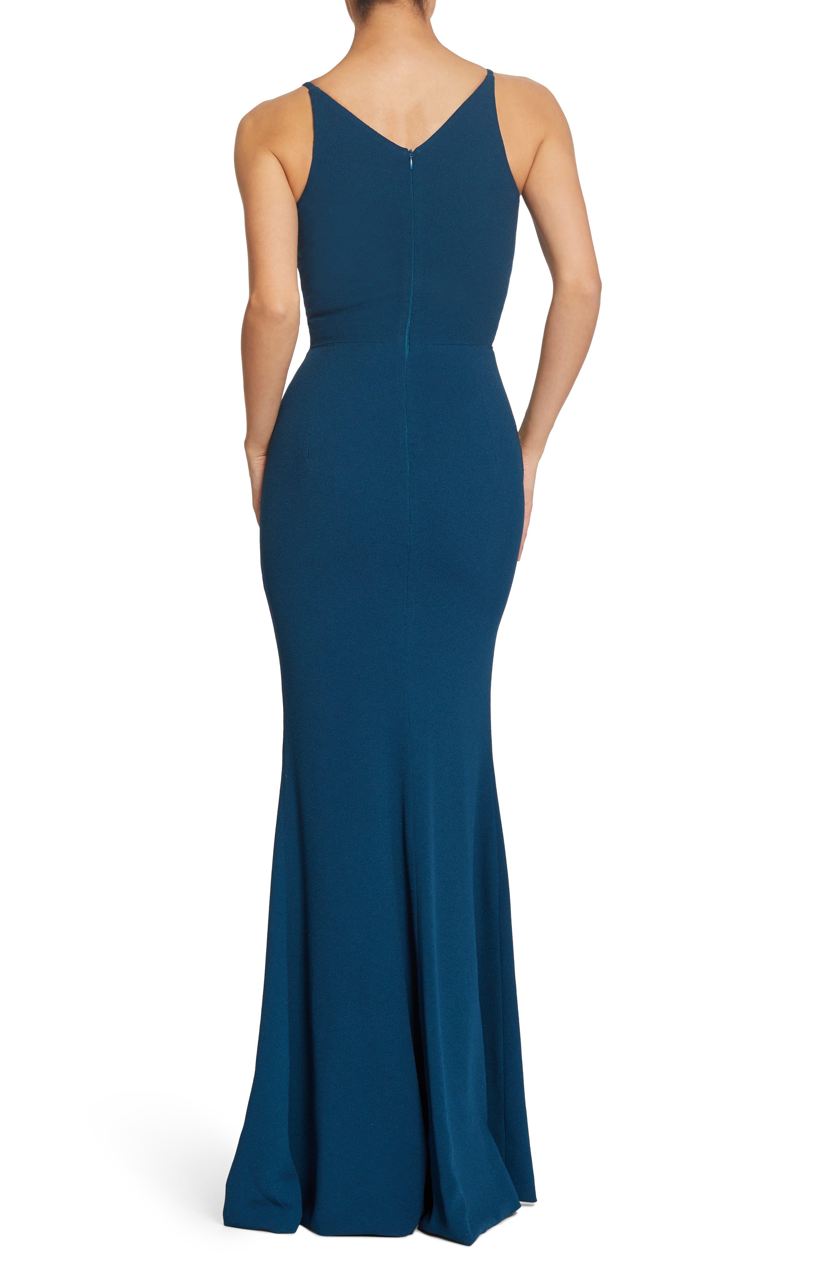 Iris Slit Crepe Gown,                             Alternate thumbnail 2, color,                             PEACOCK BLUE