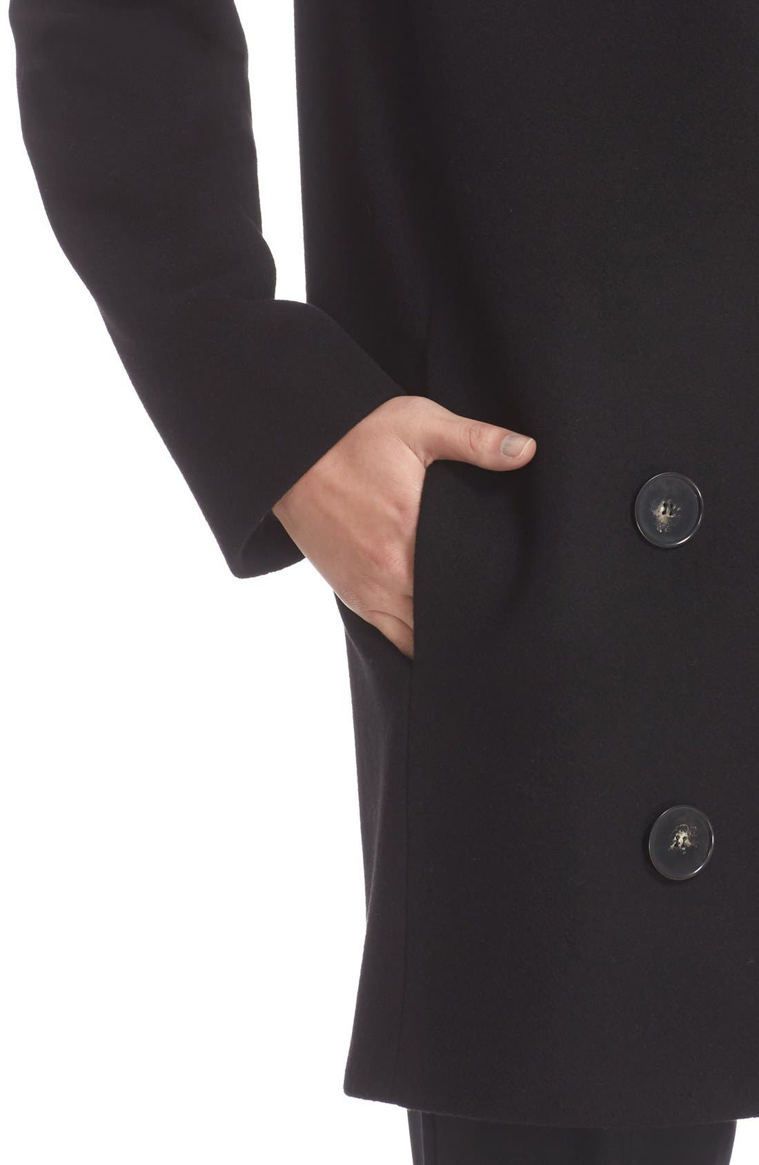 'Edith' Double Breasted Wool Blend Coat,                             Alternate thumbnail 8, color,                             001
