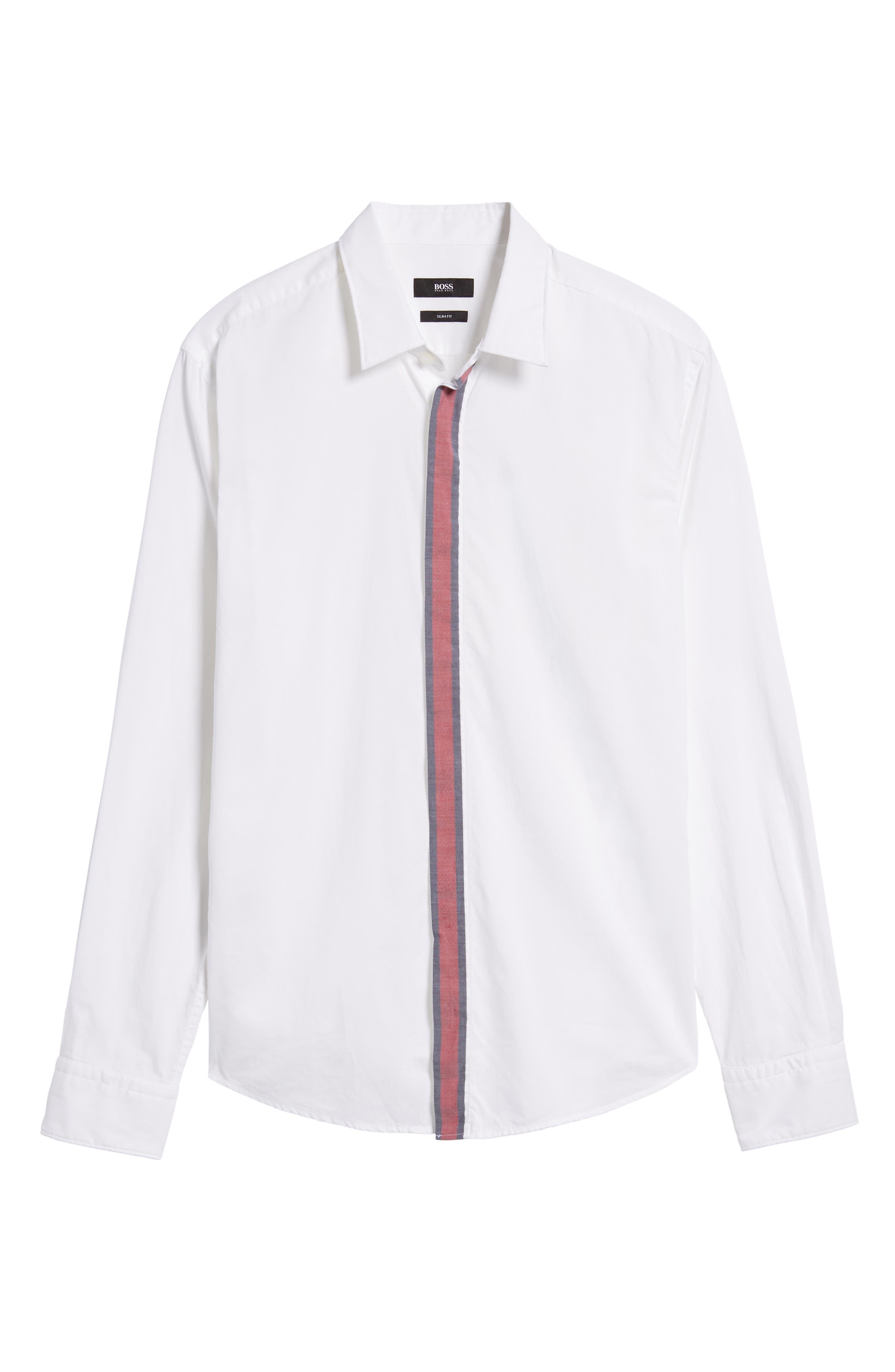 Reid Slim Fit Contrast Placket Sport Shirt,                             Alternate thumbnail 6, color,                             101