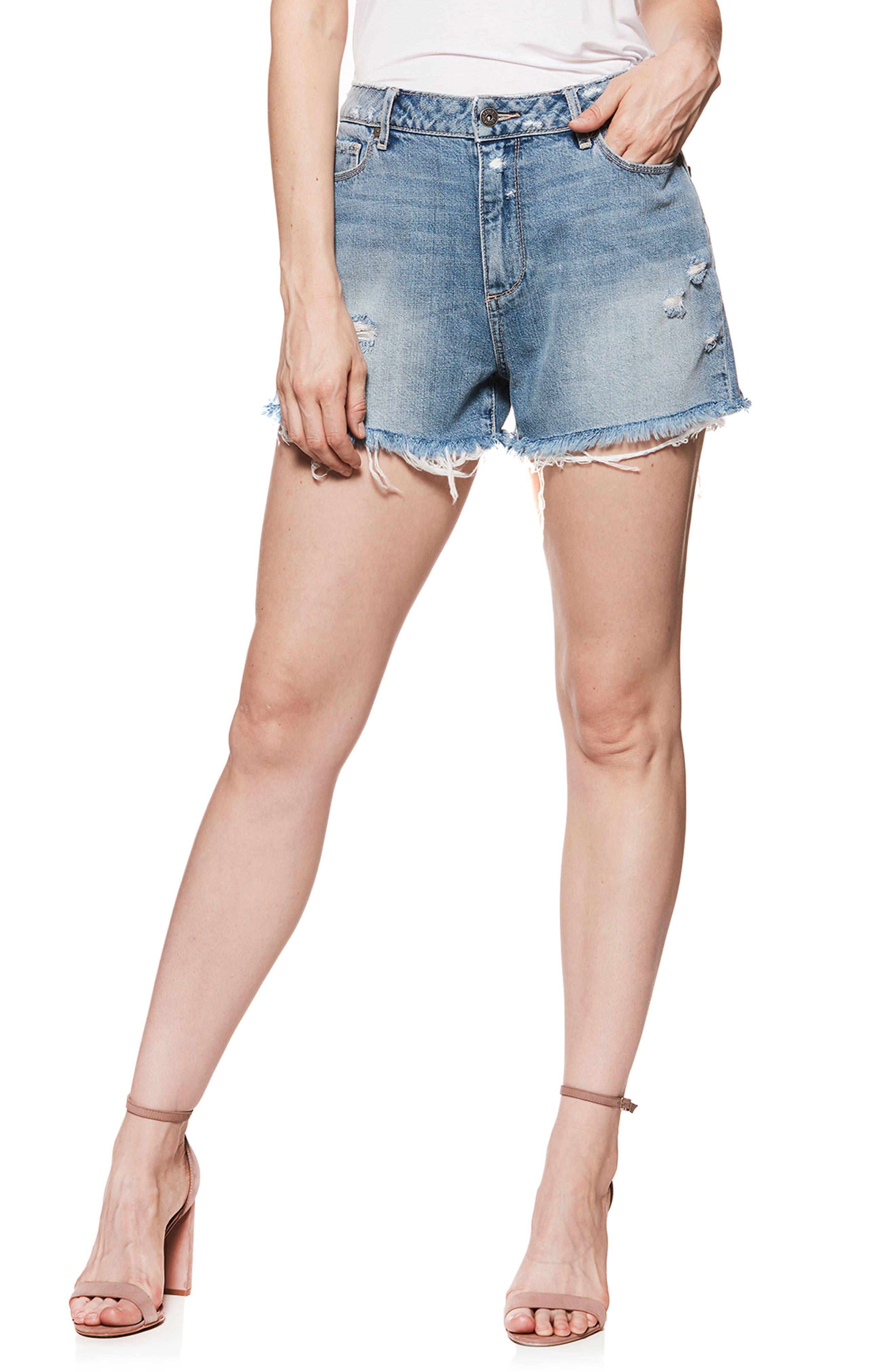 Babes Distressed Cutoff Denim Shorts,                             Main thumbnail 1, color,                             400