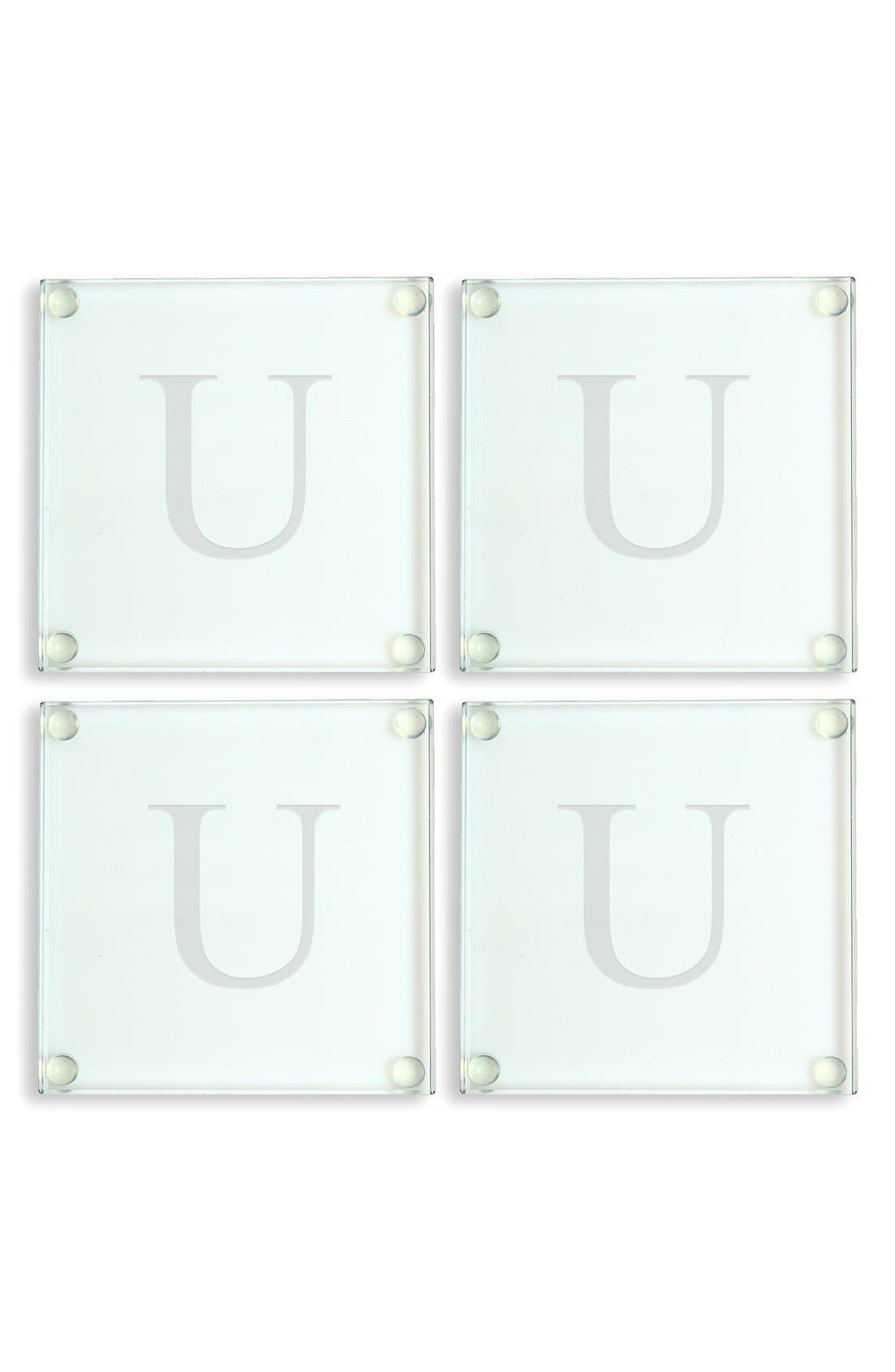 Monogram Glass Coasters,                         Main,                         color, 121