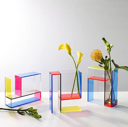 MoMA Design Store's colorful acrylic vases.
