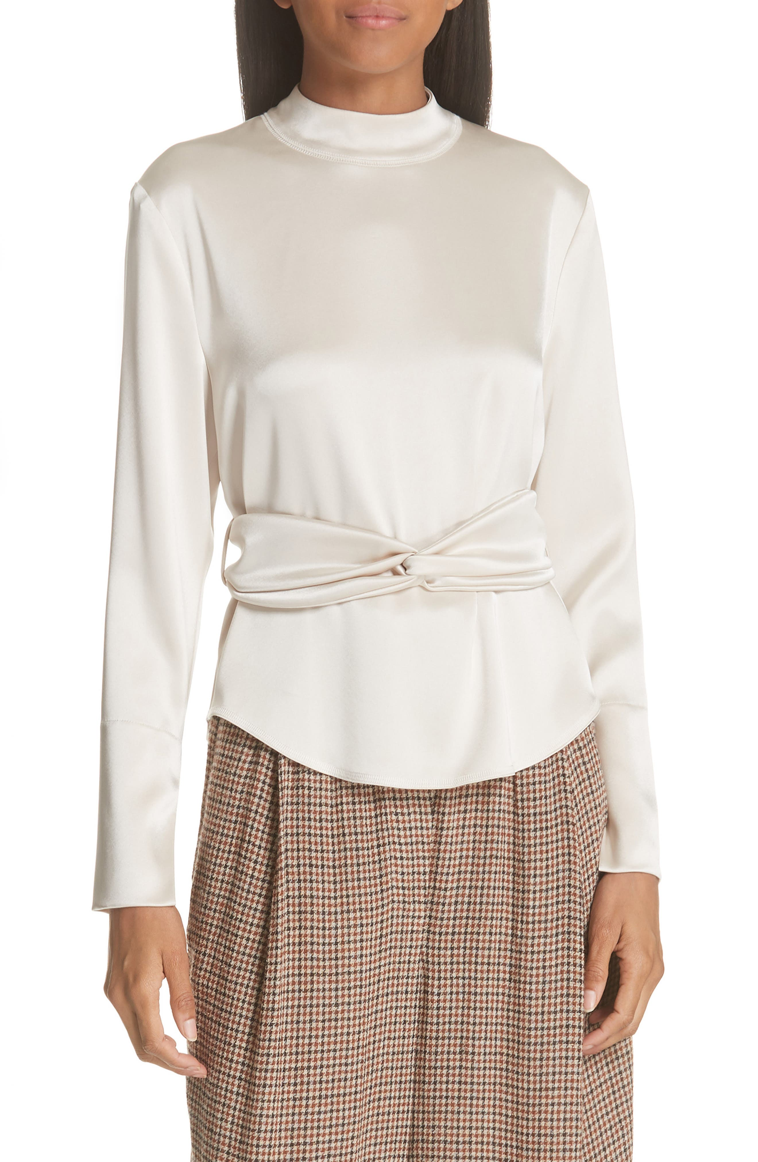 Almond Belted Satin Blouse,                             Main thumbnail 1, color,                             271