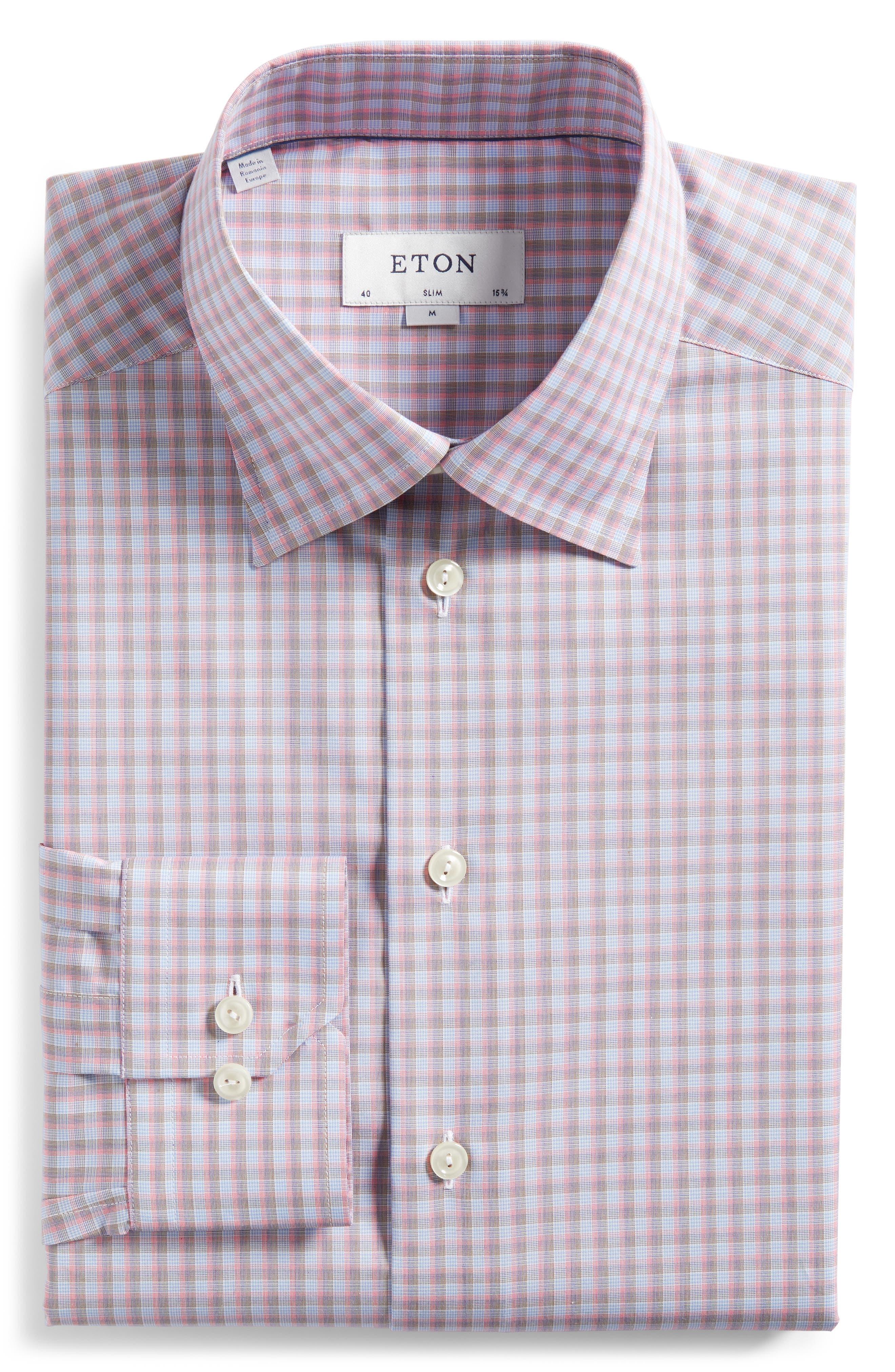 Contemporary Fit Plaid Dress Shirt,                             Alternate thumbnail 5, color,                             PINK