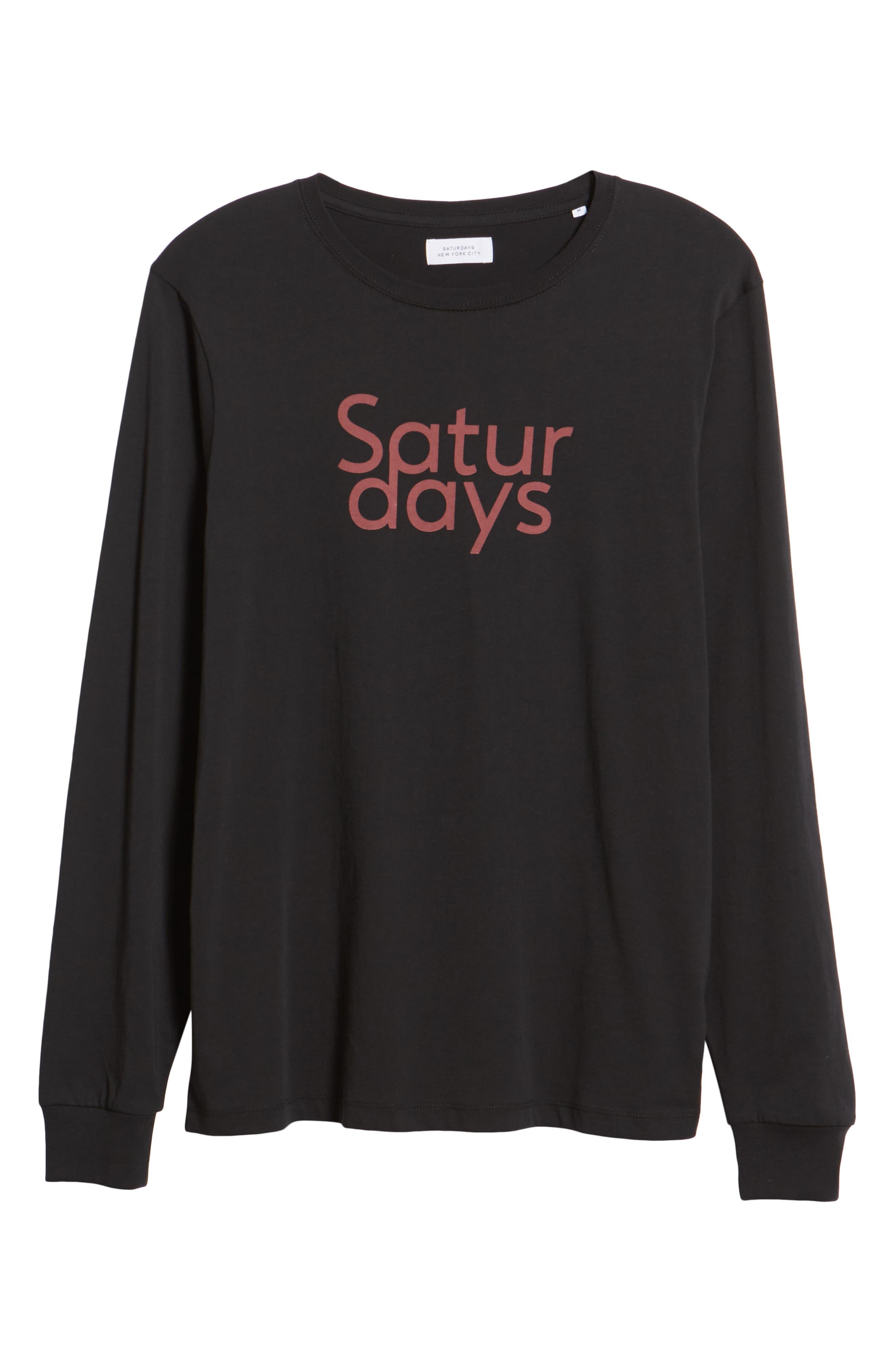 Saturdays Graphic Long Sleeve T-Shirt,                             Alternate thumbnail 6, color,                             BLACK