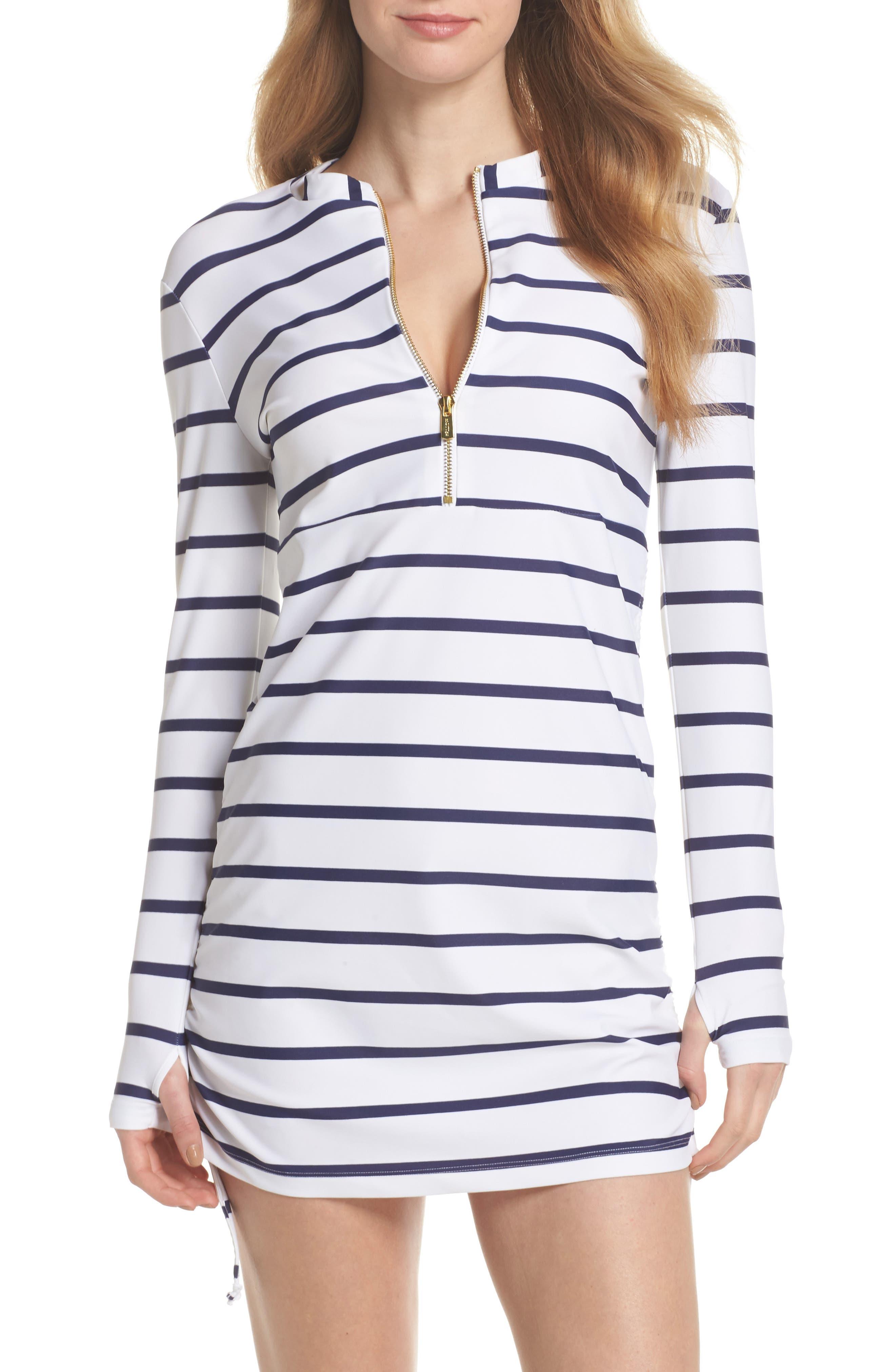 Sonja Stripe Cover-Up Swim Dress,                         Main,                         color, 400