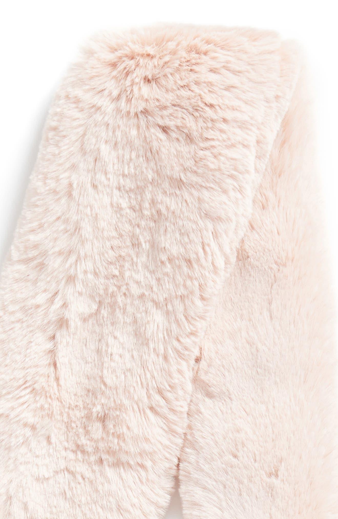 Pompom Faux Fur Scarf,                             Alternate thumbnail 4, color,