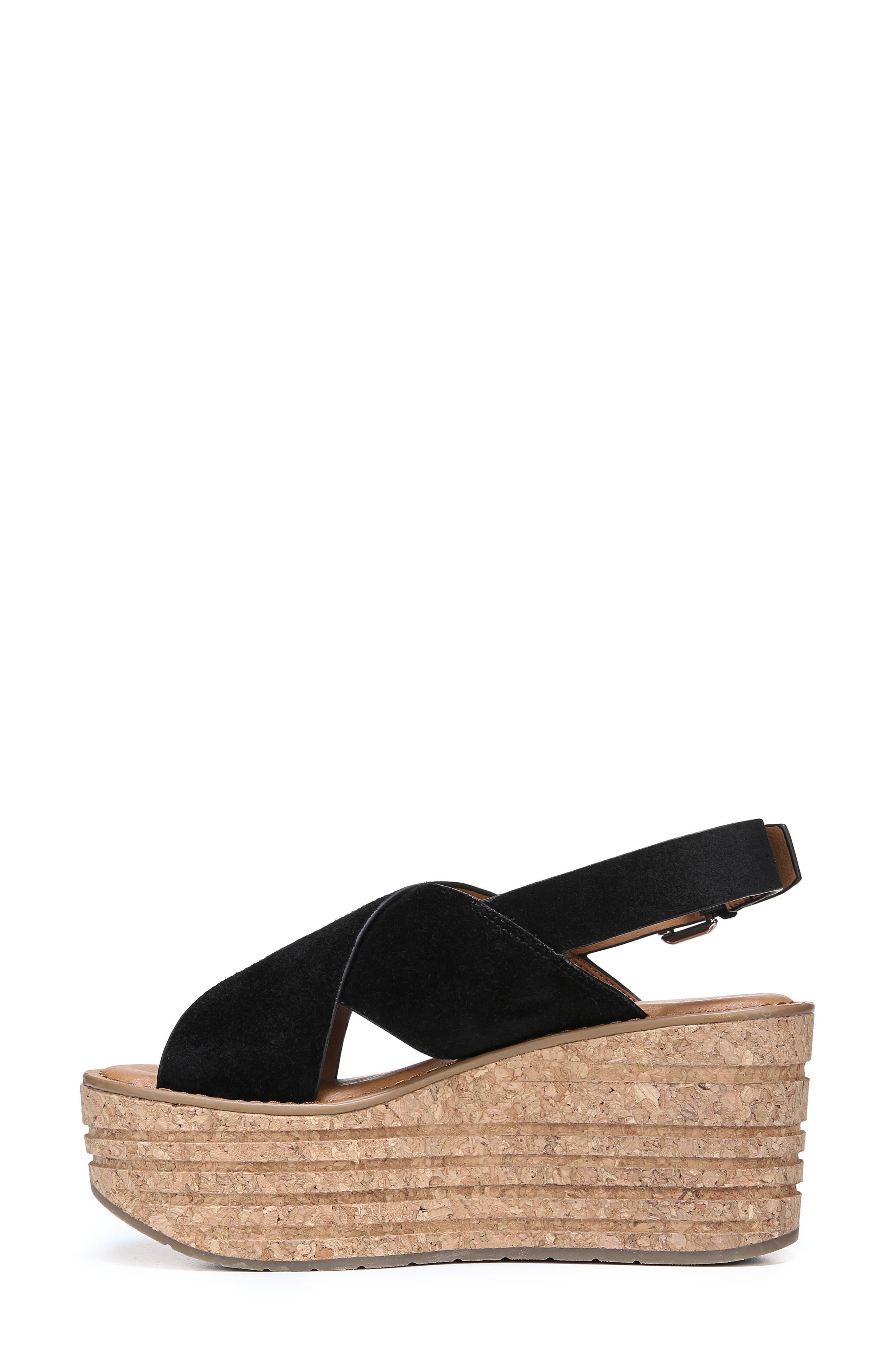 Caroline Platform Wedge Sandal,                             Alternate thumbnail 3, color,                             001
