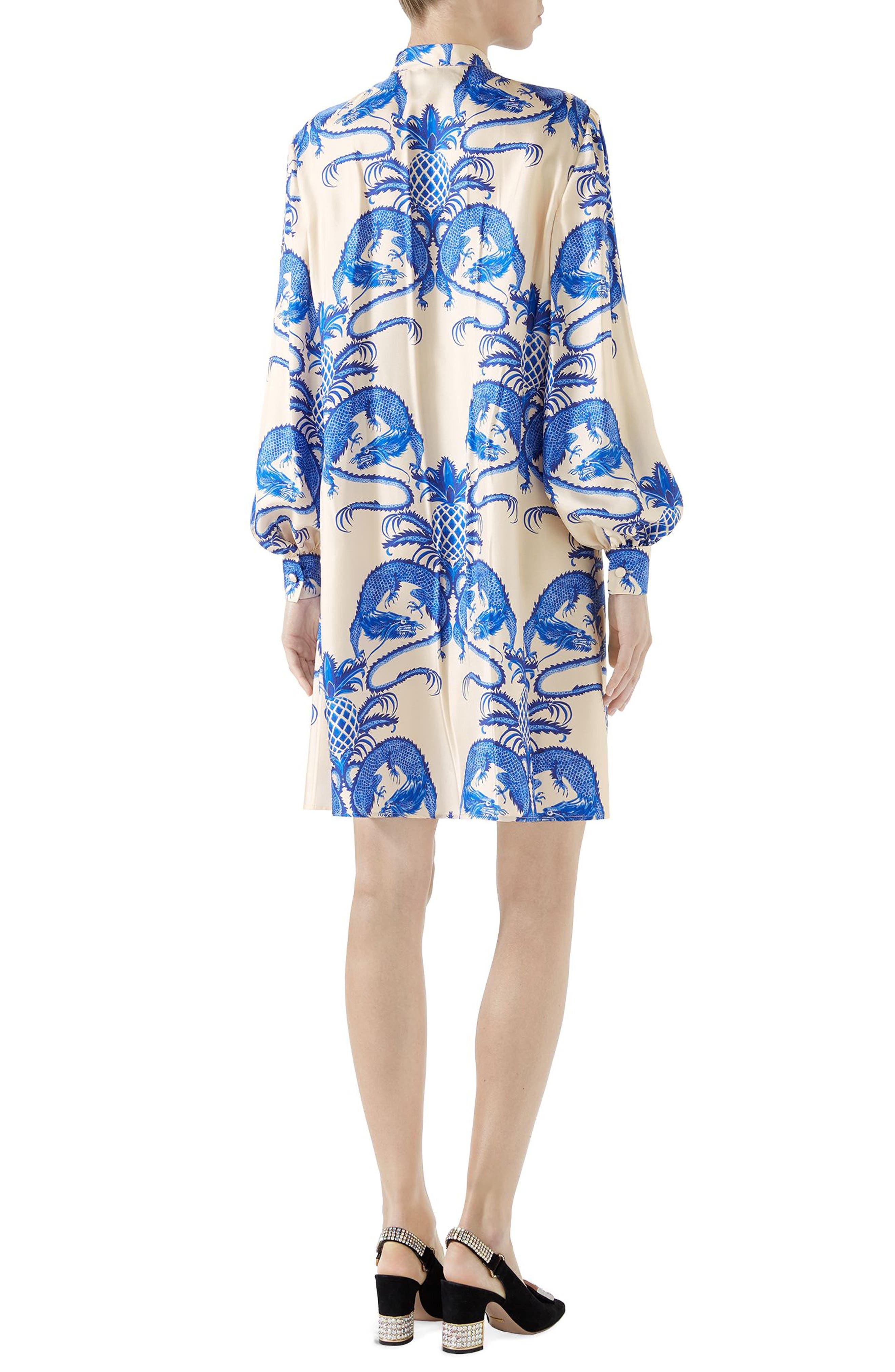 Dragon Print Twill Ruffle Neck Dress,                             Alternate thumbnail 2, color,                             IVORY/ BLUE PRINT