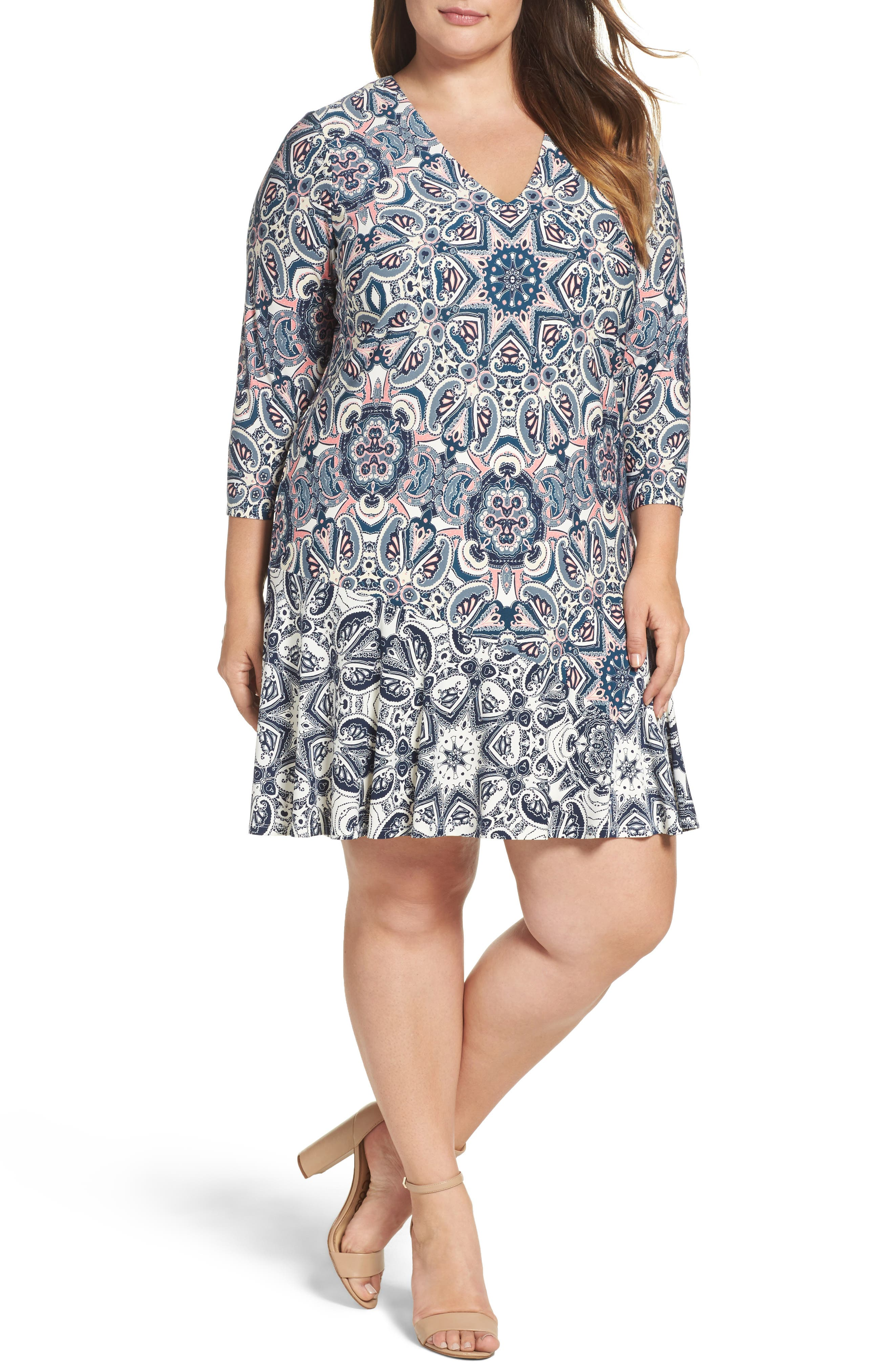 Mixed Paisley A-Line Dress,                         Main,                         color, 404