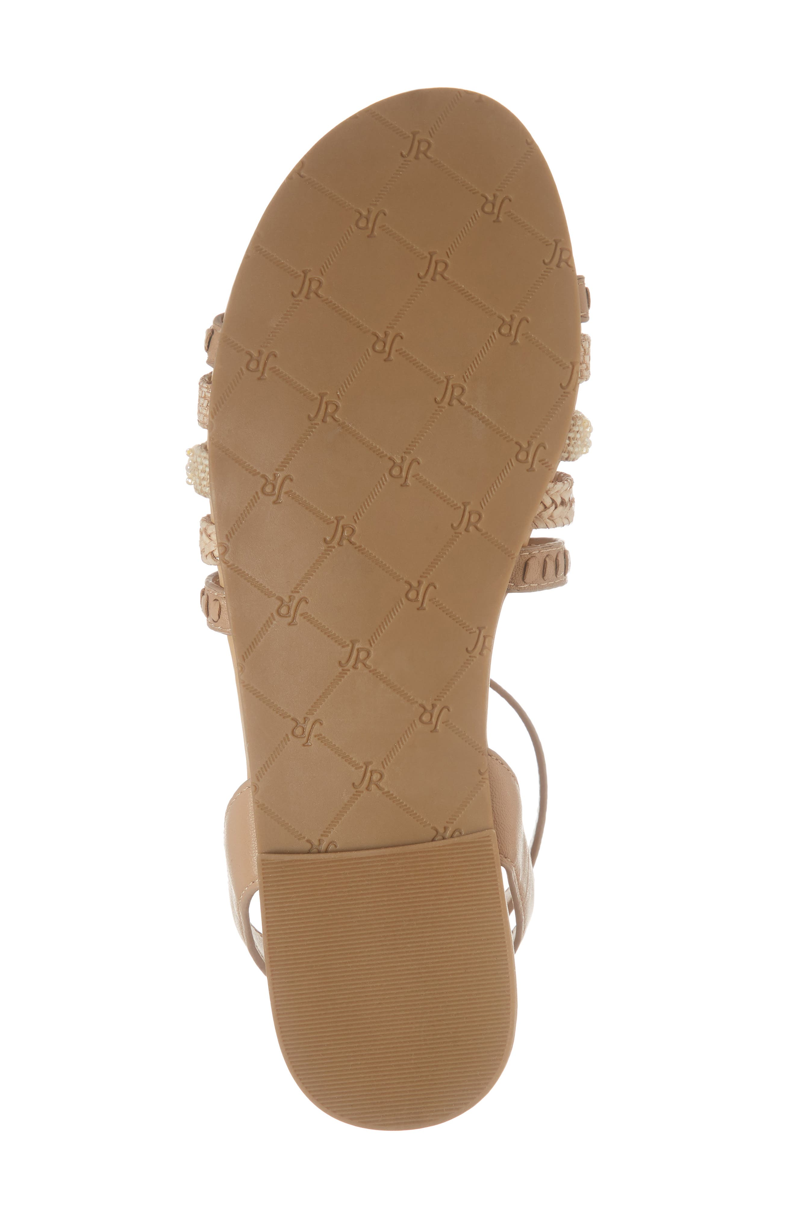 Hannah Braided Embellished Sandal,                             Alternate thumbnail 6, color,                             BUFF LEATHER
