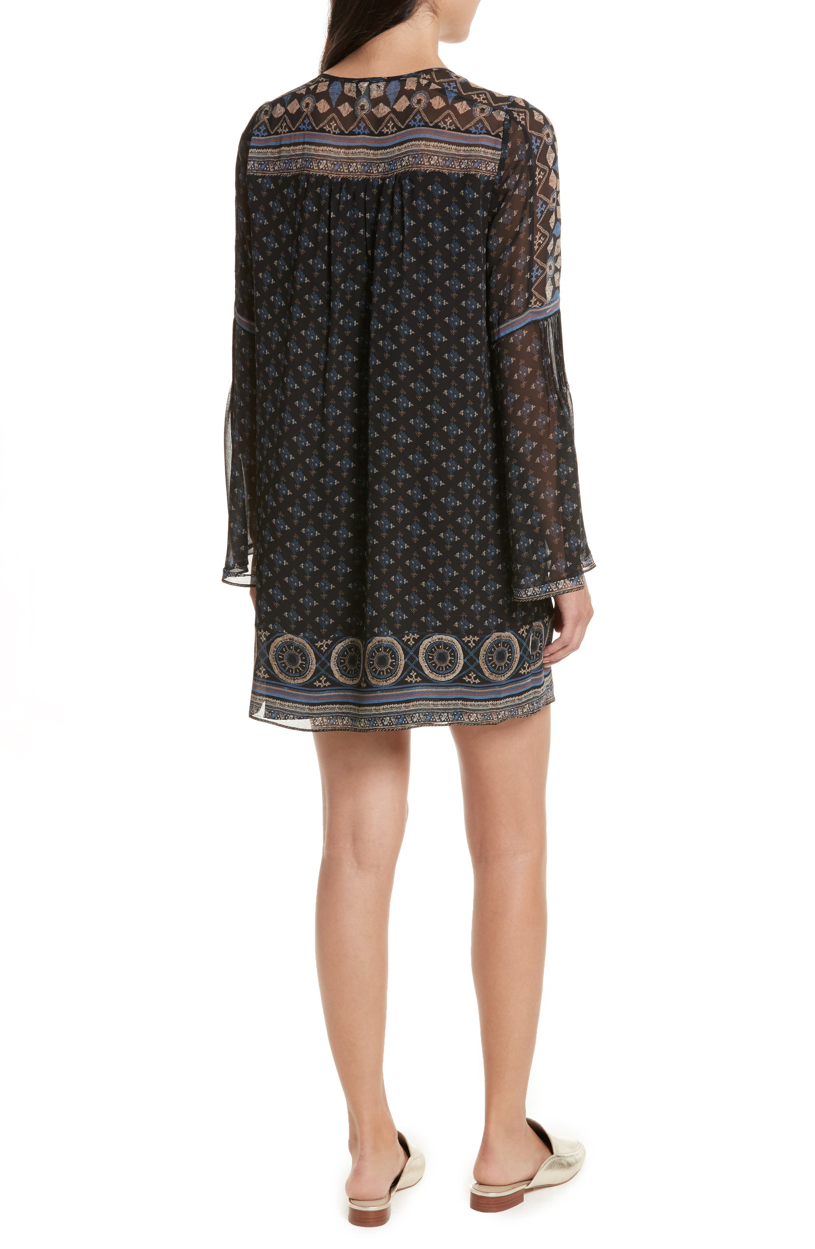 Sheyla Print Silk Shift Dress,                             Alternate thumbnail 2, color,                             004