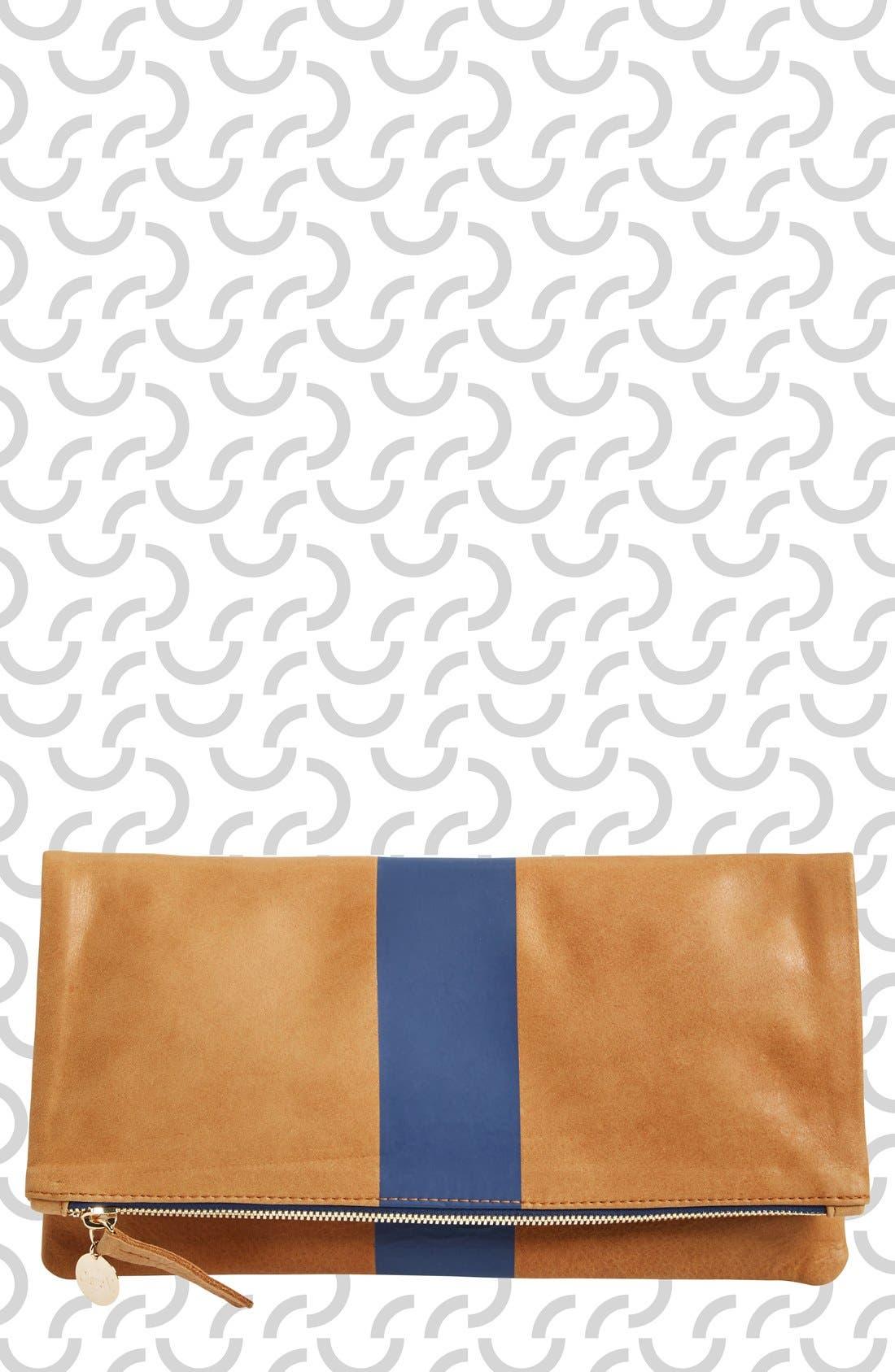 Stripe Foldover Clutch,                         Main,                         color, 250