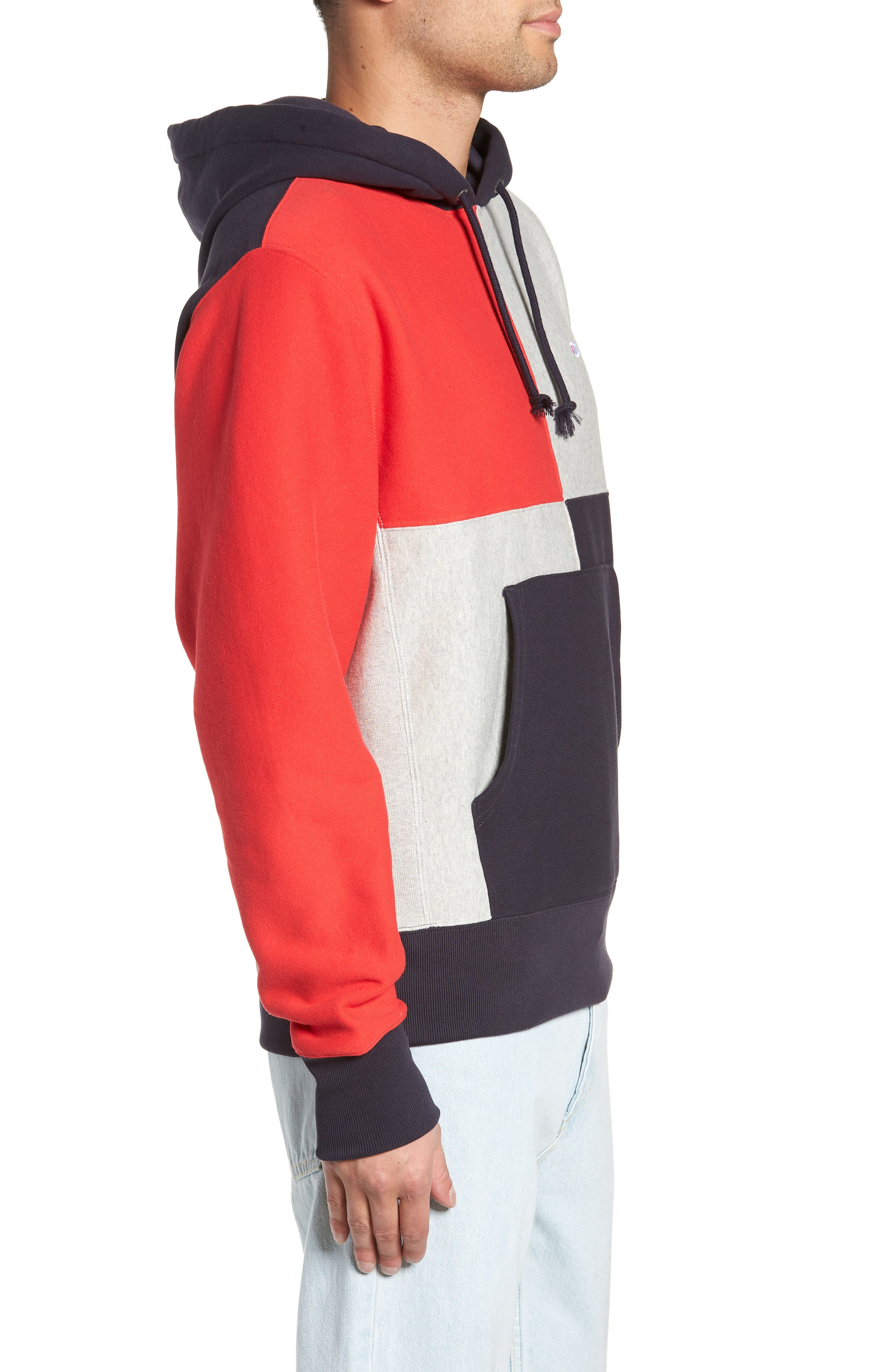 Colorblock Hoodie,                             Alternate thumbnail 3, color,                             NAVY/ OXFORD GREY/ SCARLET